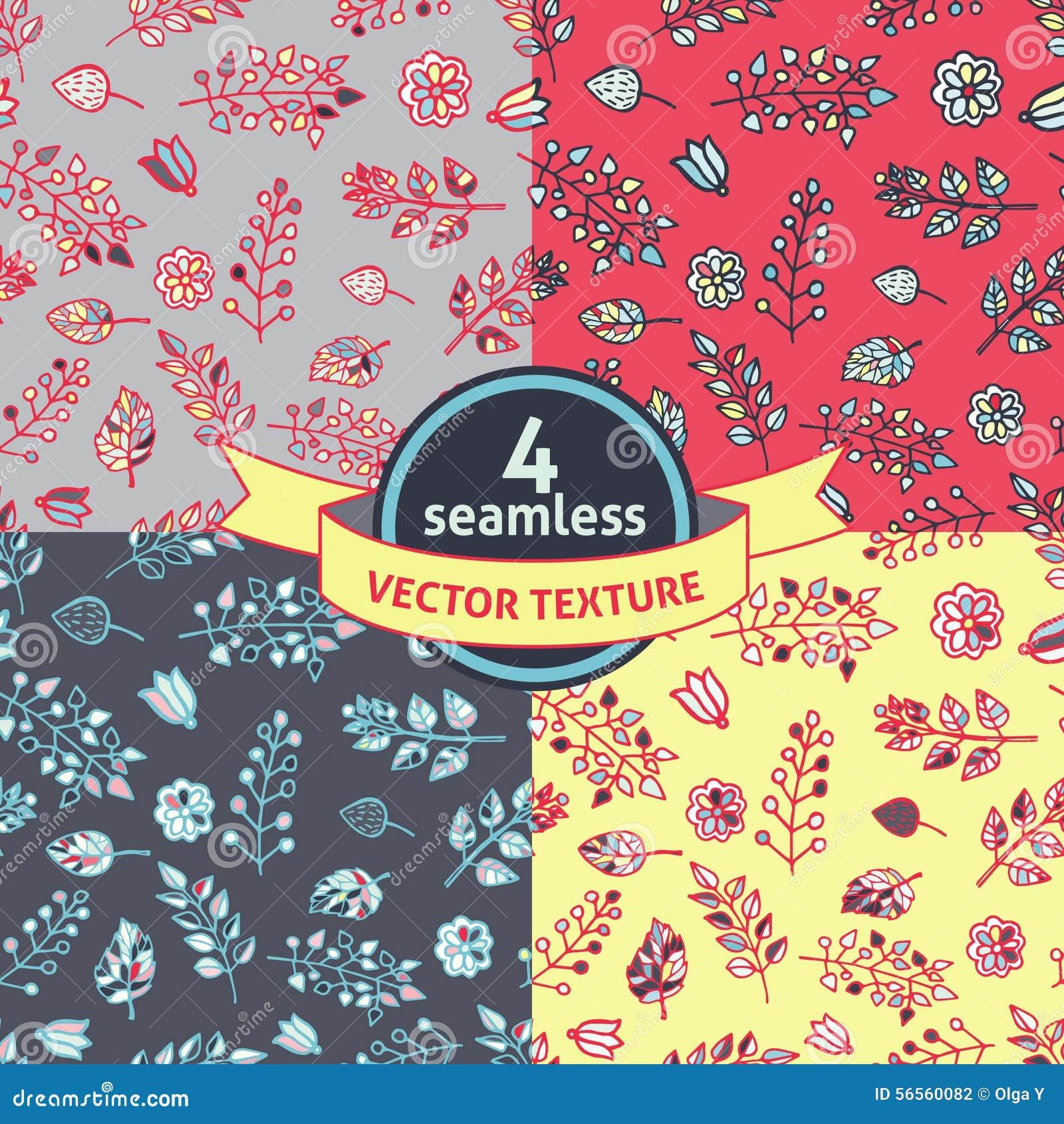 Download Σύνολο 4 άνευ ραφής Floral σχεδίων κλάδων Διανυσματική απεικόνιση - εικονογραφία από εορτασμός, φυτό: 56560082