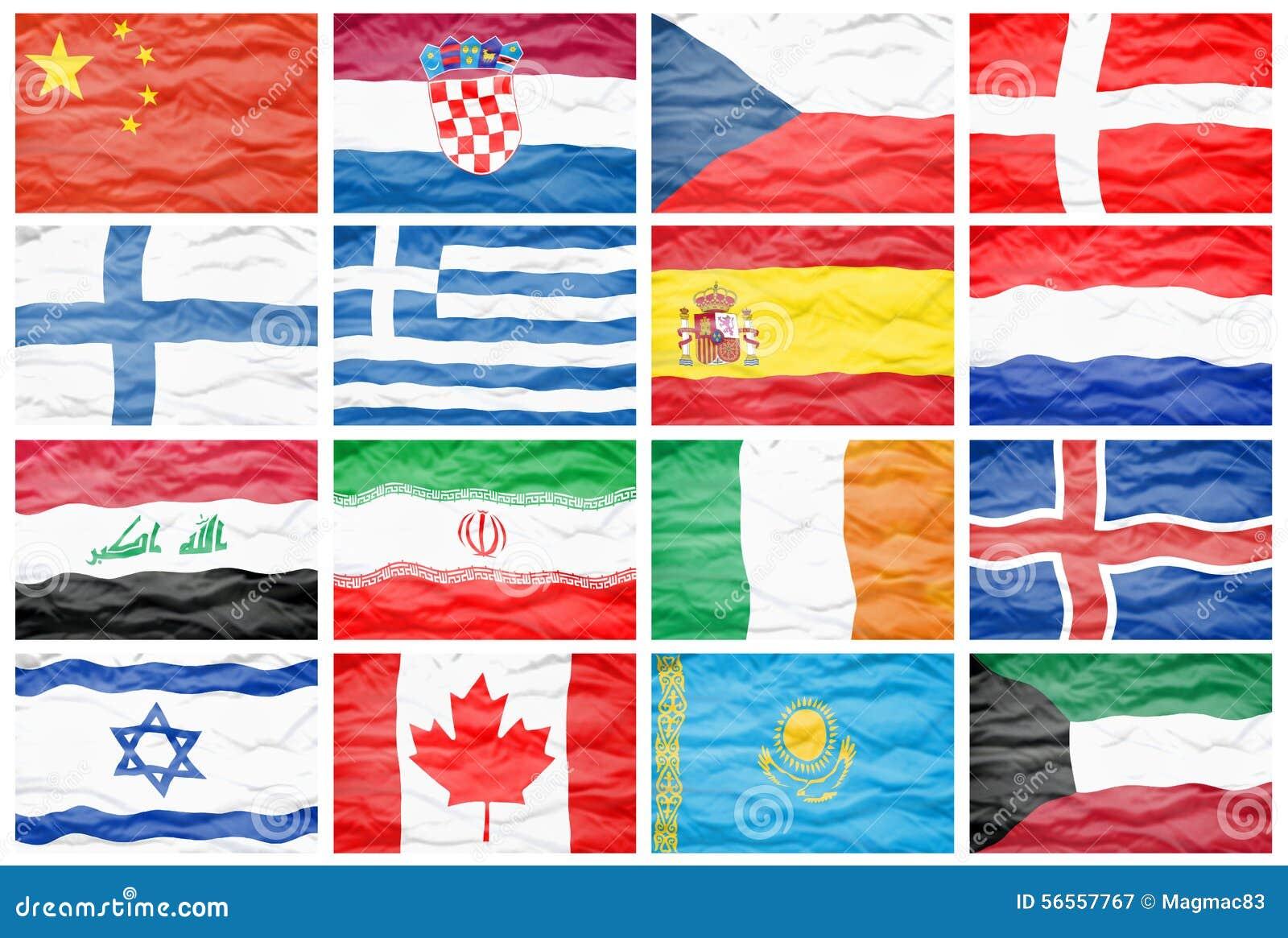 Download Σύνολο δέκα έξι μεγάλες διαφορετικές εθνικές σημαίες Απεικόνιση αποθεμάτων - εικονογραφία από κυβέρνηση, ελλάδα: 56557767