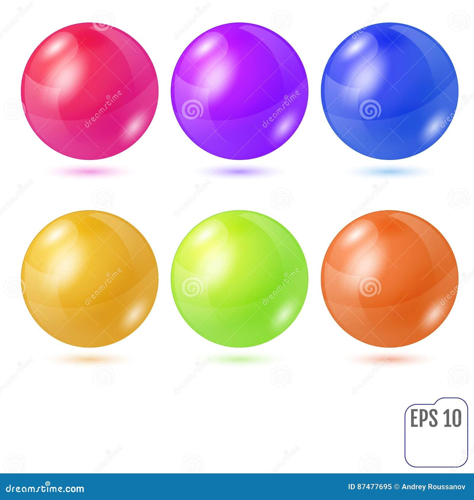 Σύνολο έξι πολύχρωμων ρεαλιστικών χρωματισμένων σφαιρών που απομονώνεται στο wh