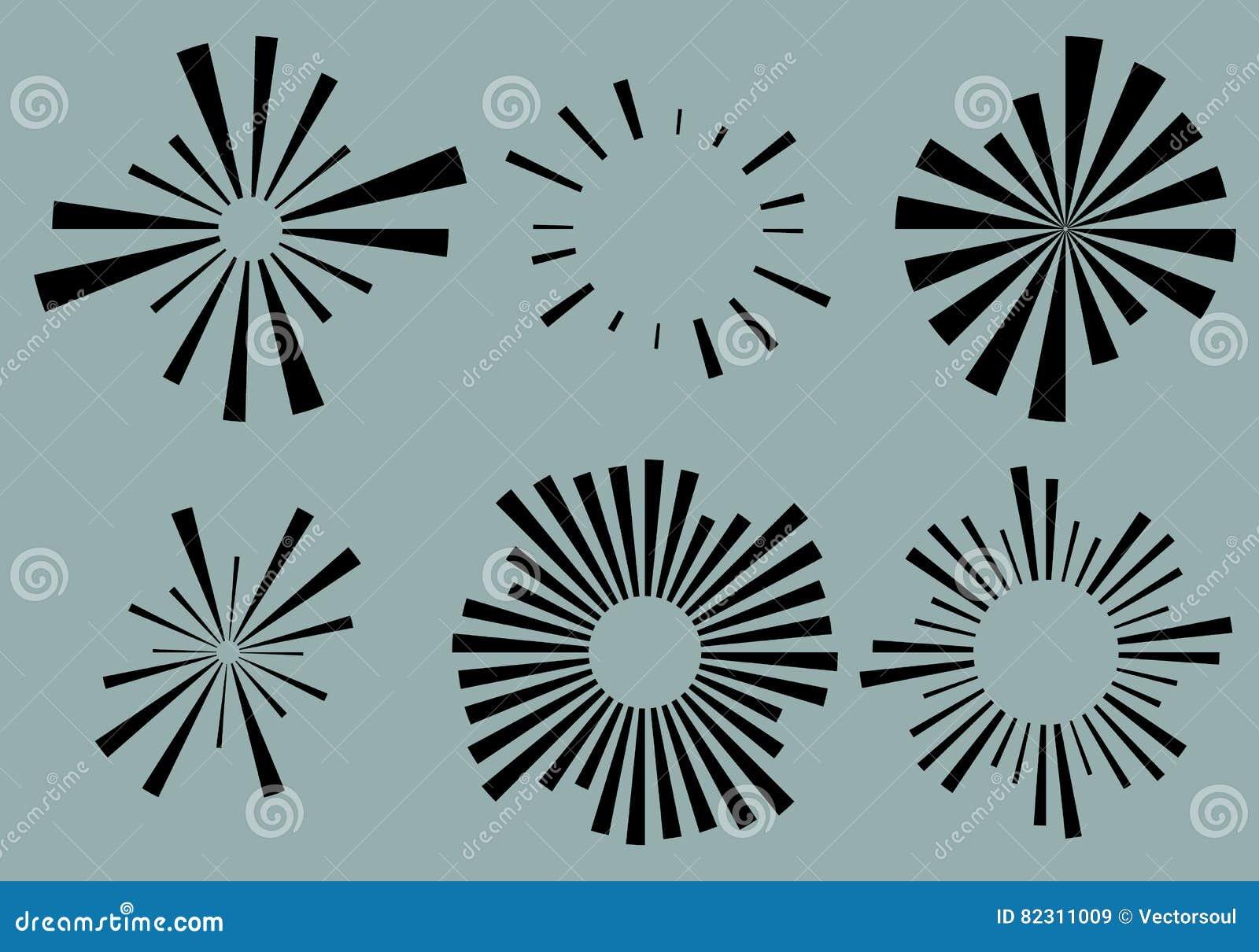 Σύνολο 6 ακτινωτές γραμμές, ακτίνες, στοιχεία ακτίνων Διάφορο starburst, ήλιος