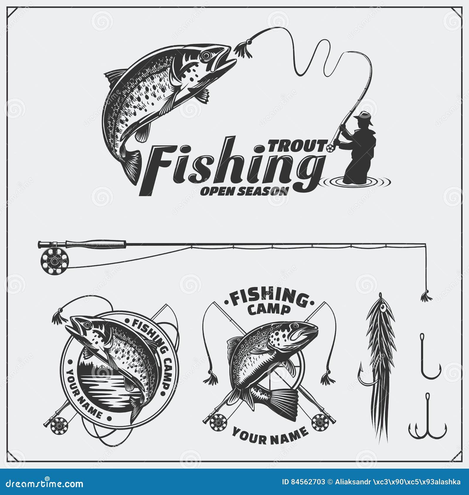 Σύνολο αναδρομικών ετικετών αλιείας, διακριτικών, εμβλημάτων και στοιχείων σχεδίου Εκλεκτής ποιότητας σχέδιο ύφους