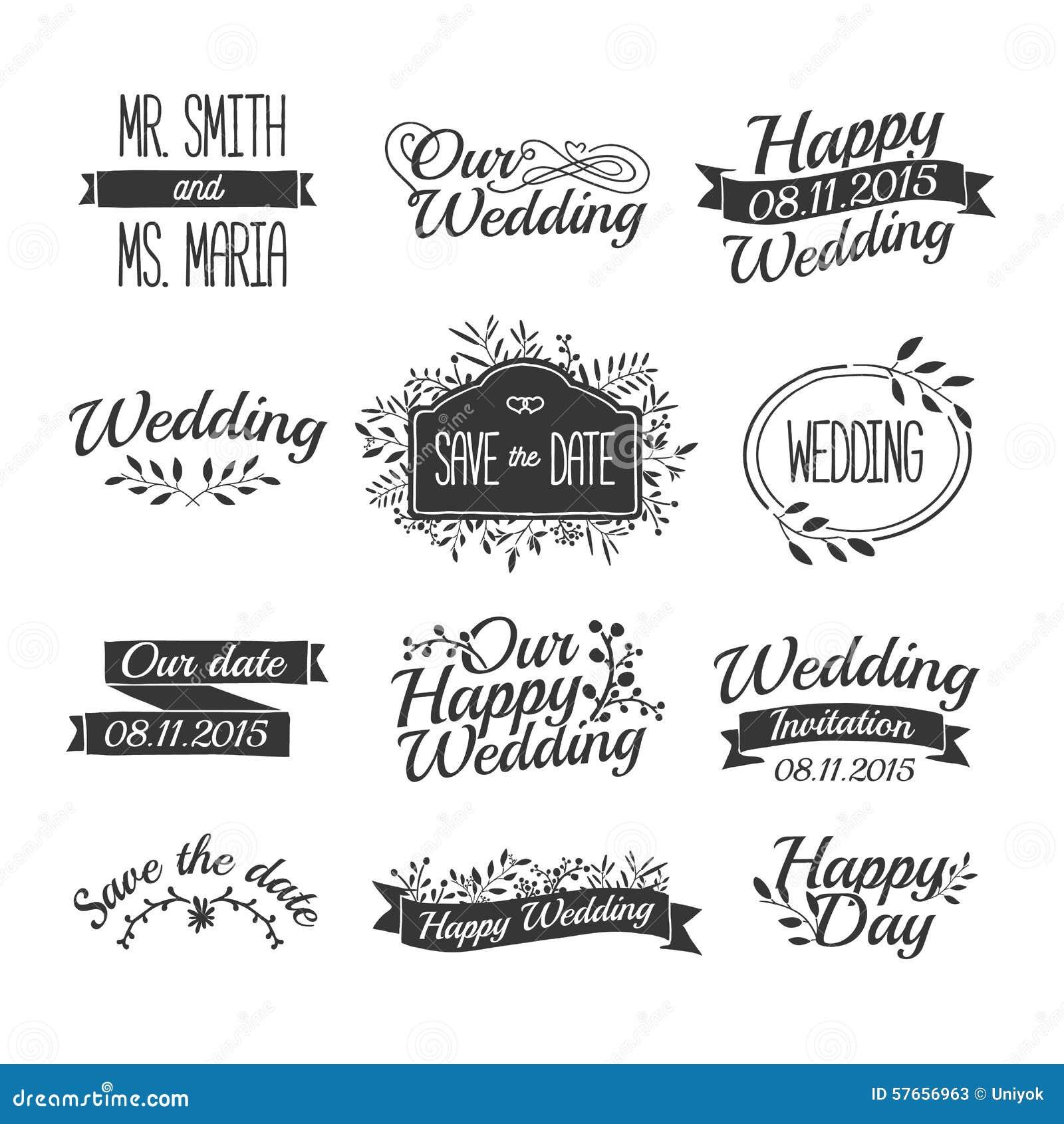 Σύνολο γαμήλιων εκλεκτής ποιότητας αναδρομικών λογότυπων, σημάδια, ετικέτες