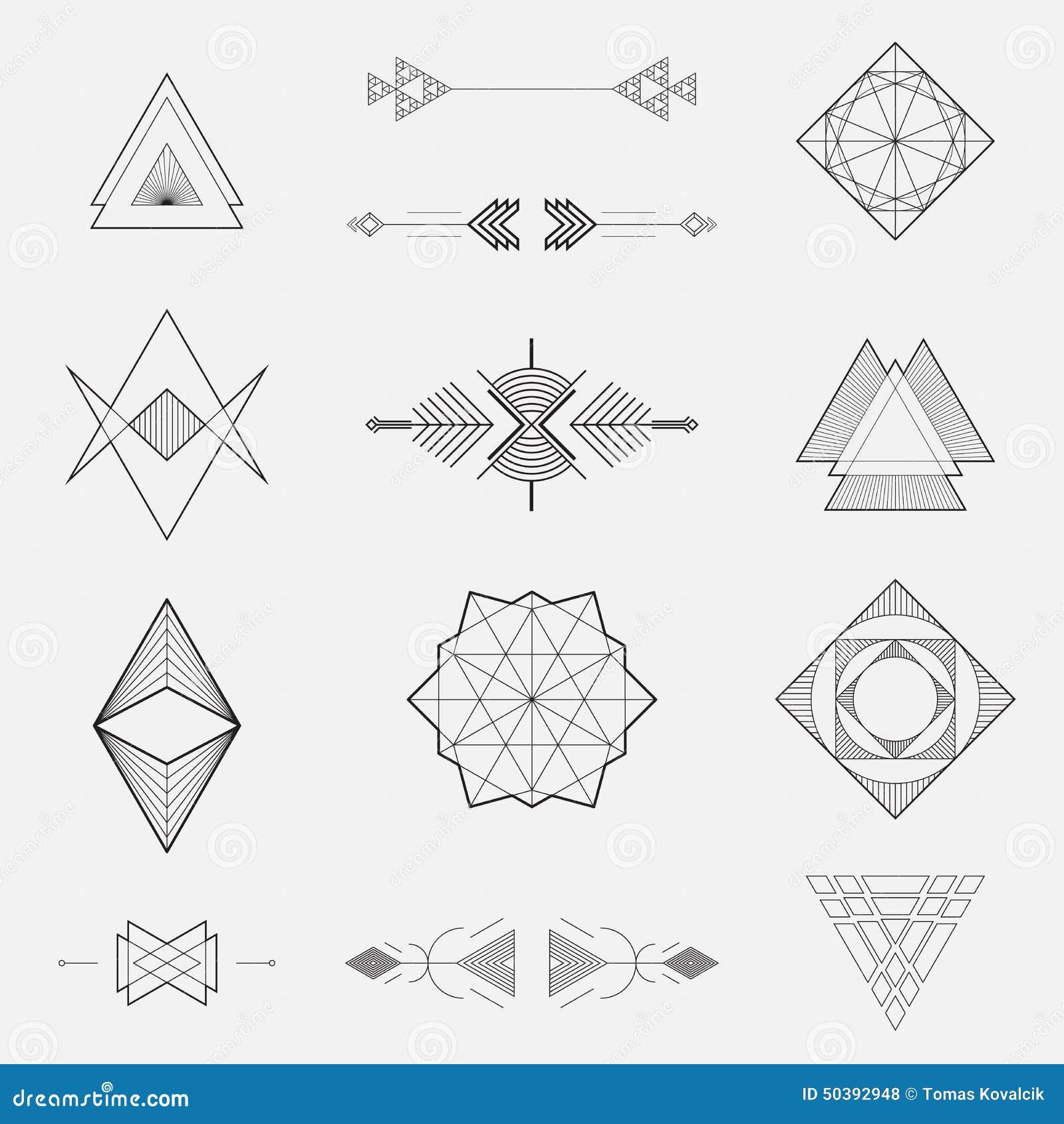 Σύνολο γεωμετρικών μορφών, τρίγωνα, σχέδιο γραμμών,