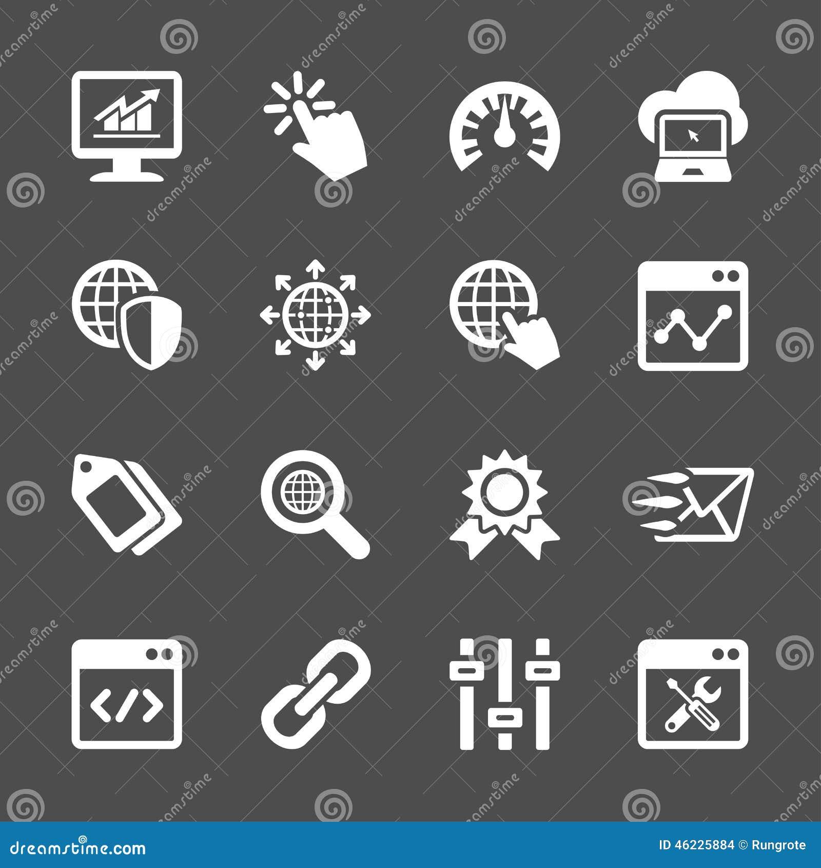 Σύνολο εικονιδίων βελτιστοποίησης μηχανών δικτύων και αναζήτησης, διανυσματικό eps10