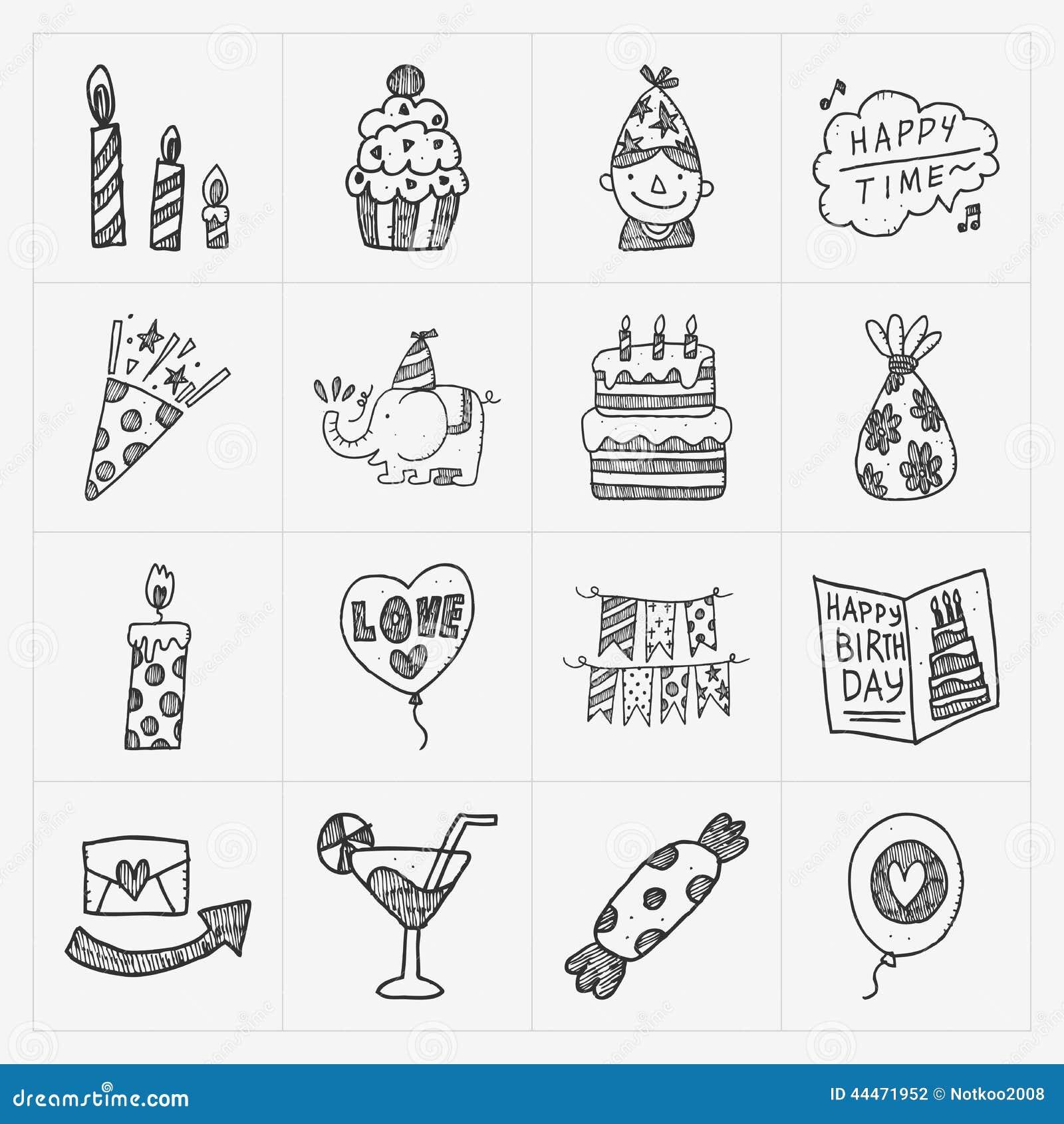 Σύνολο εικονιδίων γιορτής γενεθλίων Doodle
