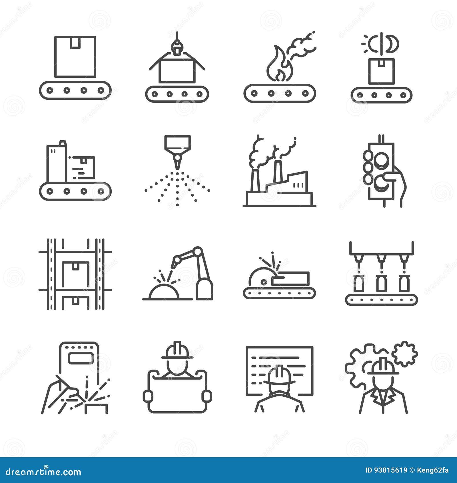 Σύνολο εικονιδίων γραμμών κατασκευής Περιέλαβε τα εικονίδια ως διαδικασία, παραγωγή, εργοστάσιο, συσκευασία και περισσότερους