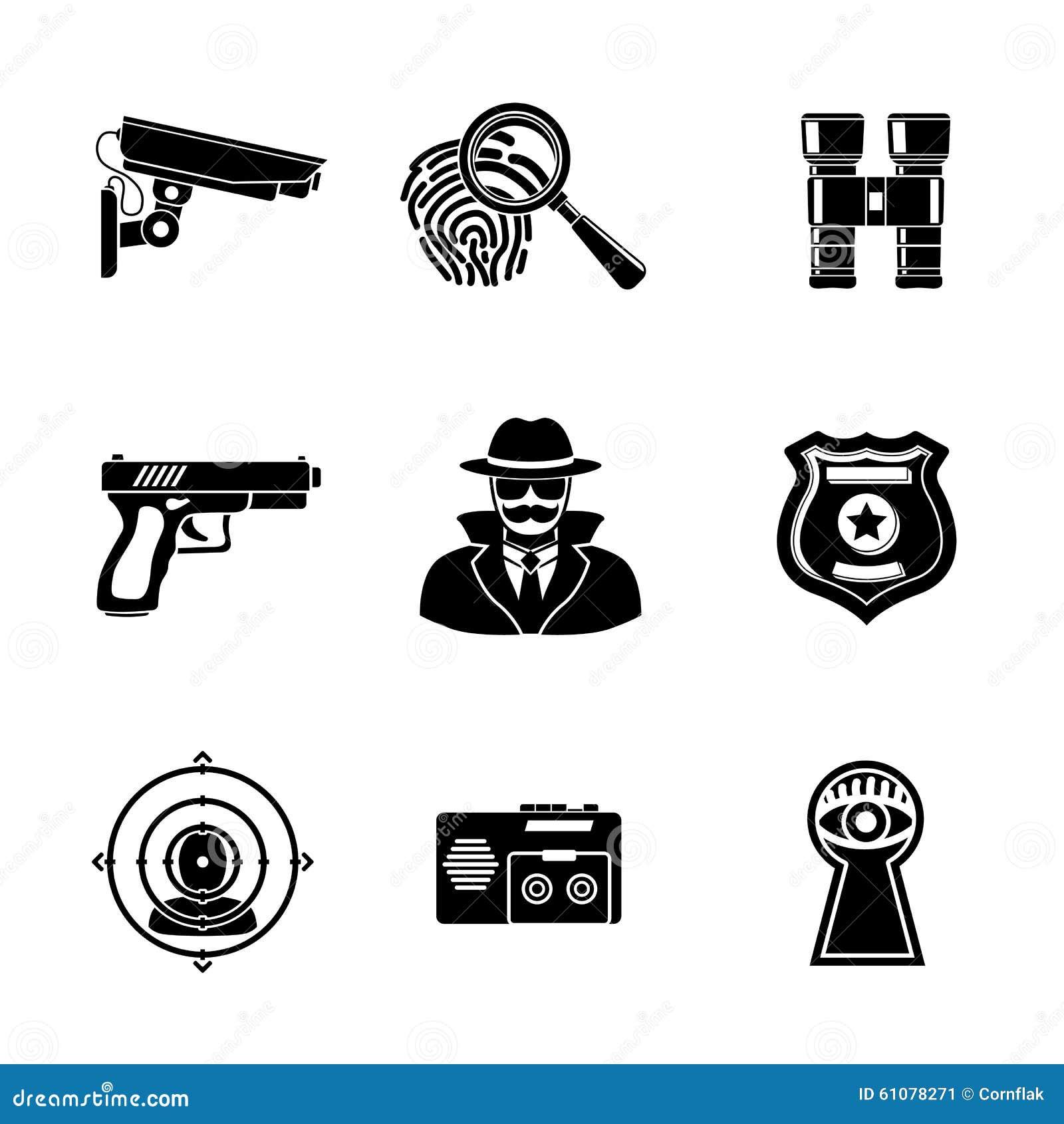 Σύνολο εικονιδίων κατασκόπων - δακτυλικό αποτύπωμα, κατάσκοπος, πυροβόλο όπλο