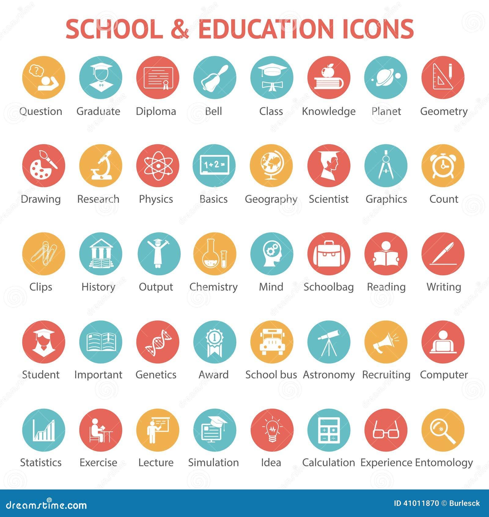 Σύνολο εικονιδίων σχολείων και εκπαίδευσης