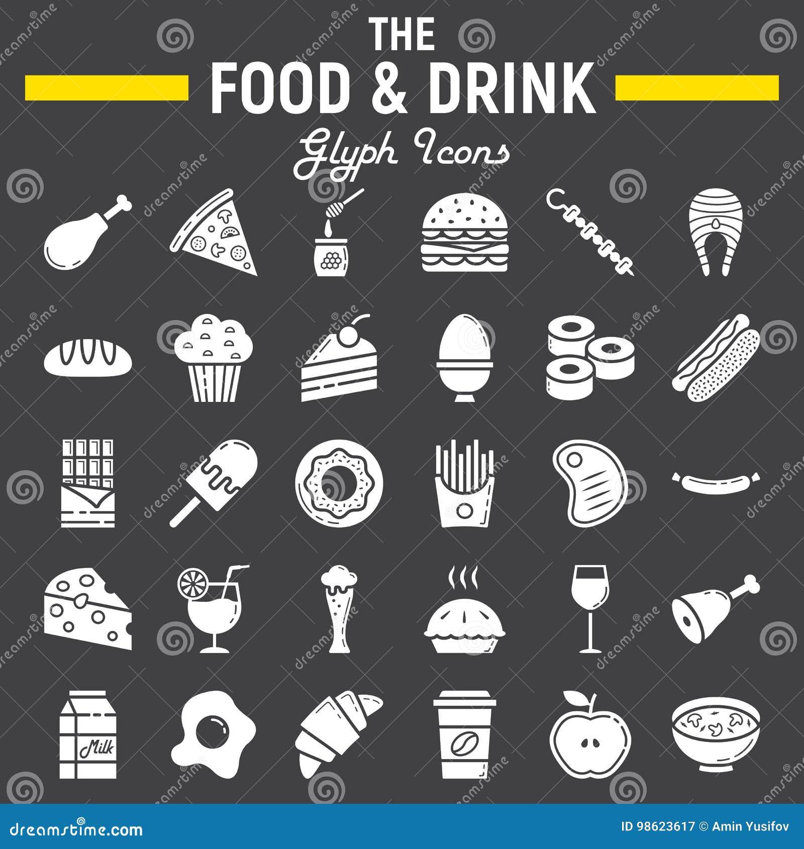 Σύνολο εικονιδίων τροφίμων και ποτών glyph, σημάδια γεύματος