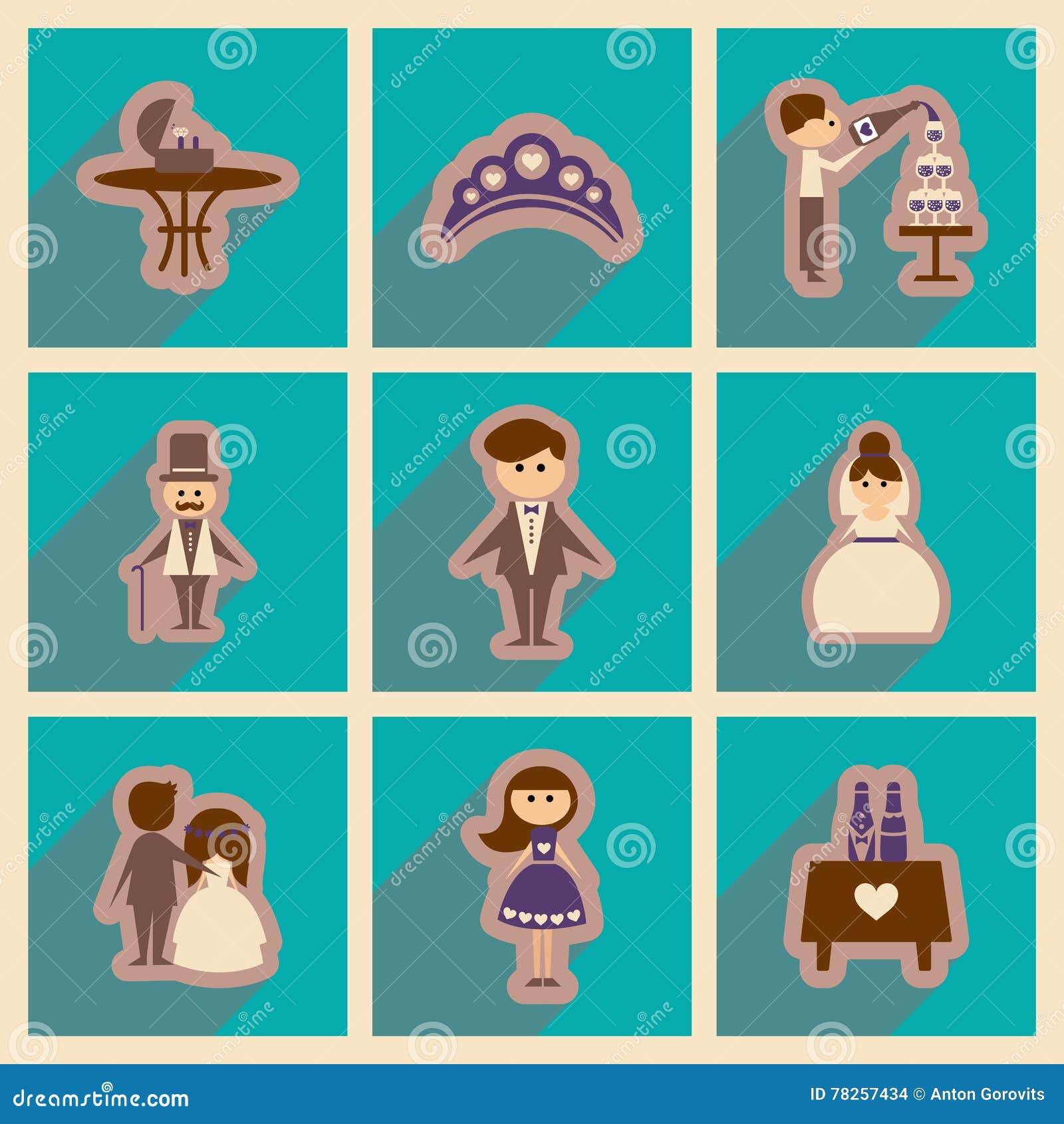 Σύνολο επίπεδων εικονιδίων Ιστού με το μακροχρόνιο γάμο σκιών