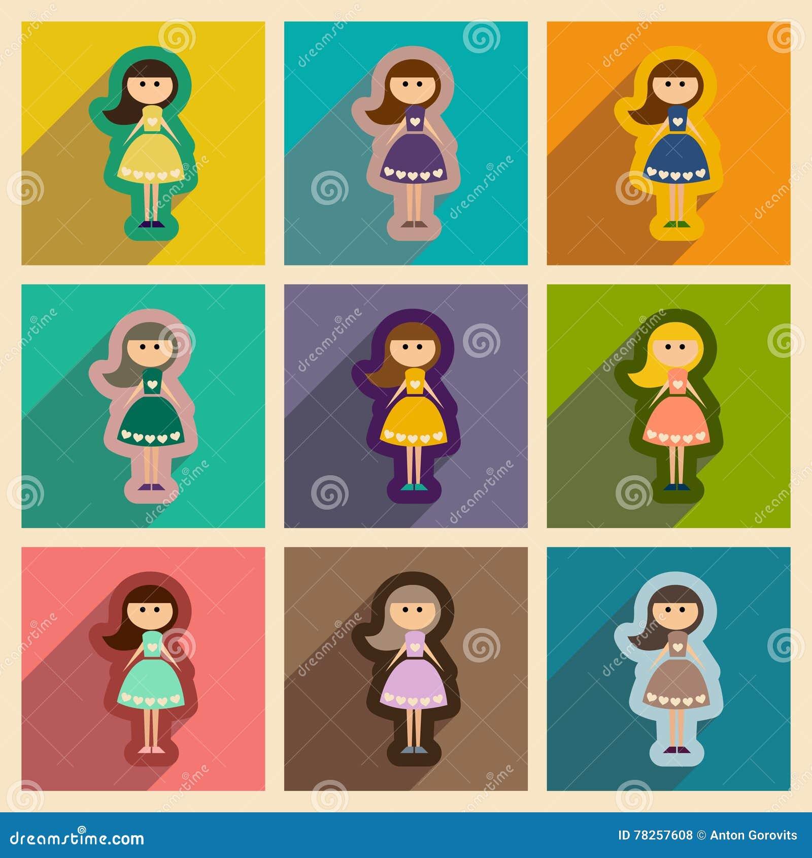 Σύνολο επίπεδων εικονιδίων Ιστού με το μακρύ κορίτσι σκιών