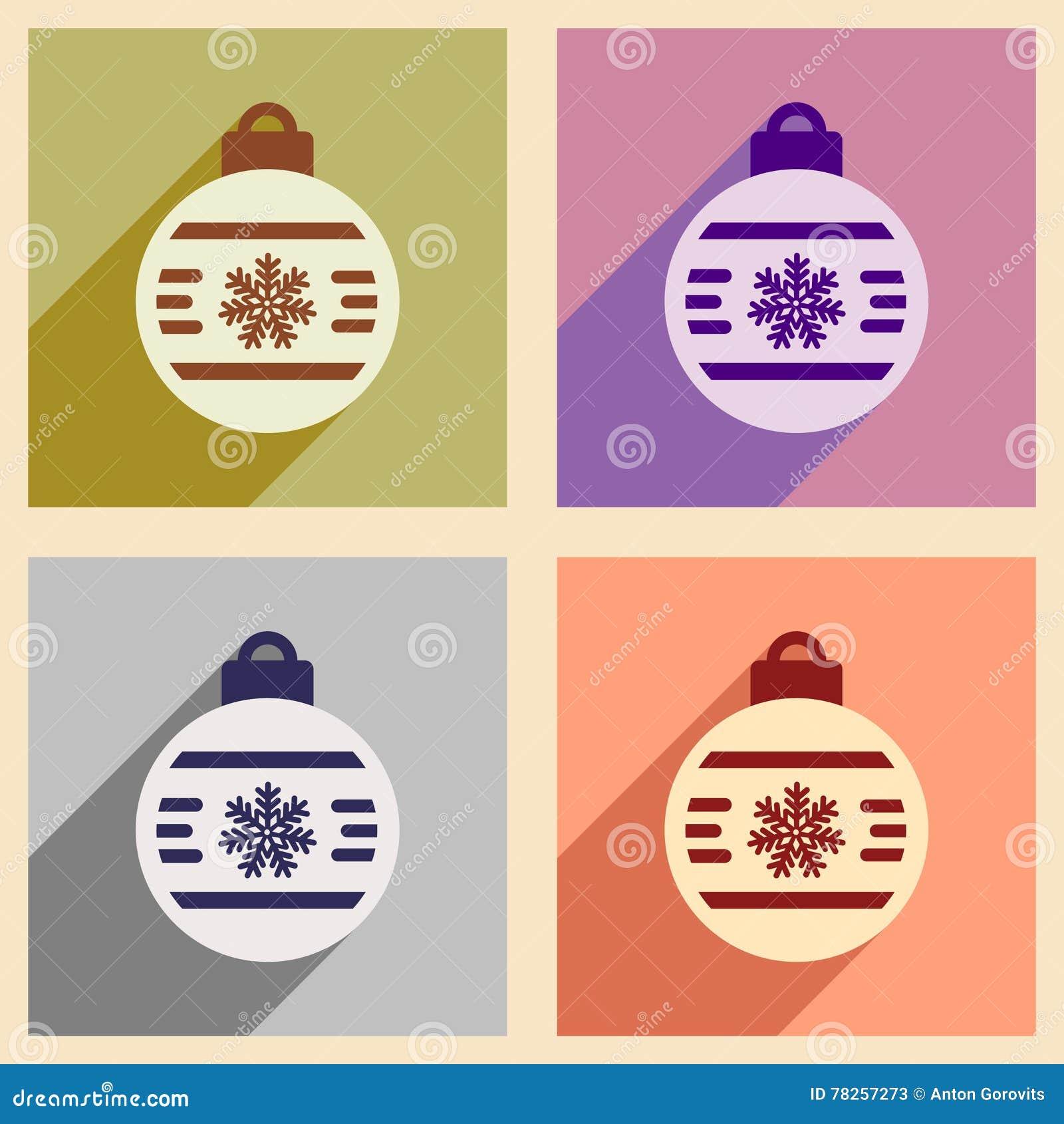 Σύνολο επίπεδων εικονιδίων με τις μακριές σφαίρες Χριστουγέννων σκιών