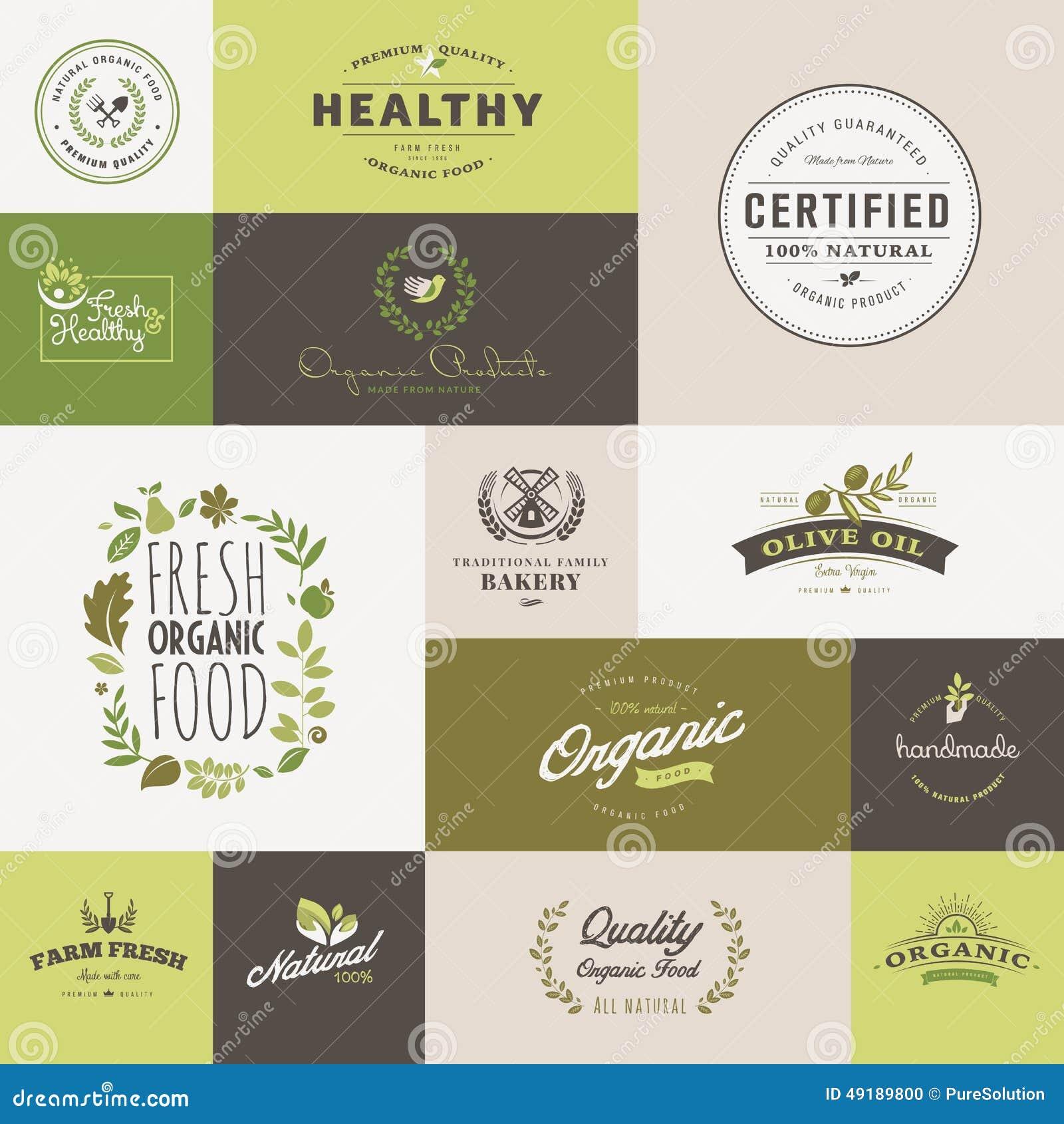 Σύνολο επίπεδων εικονιδίων σχεδίου για τη οργανική τροφή και το ποτό