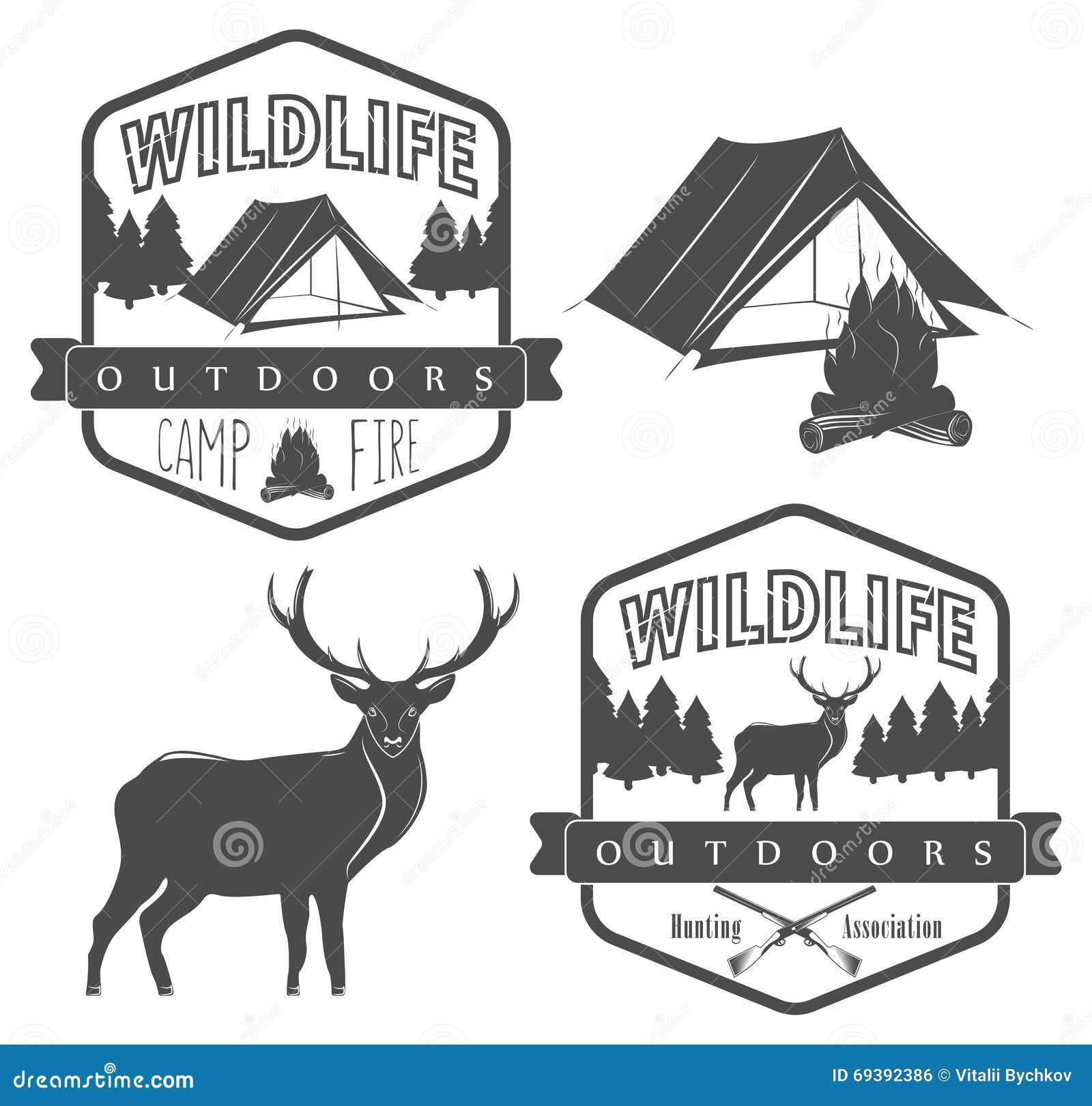 Σύνολο ετικέτας στρατοπέδευσης και κυνηγιού, άγριας φύσης και υπαίθρια περιπέτειας