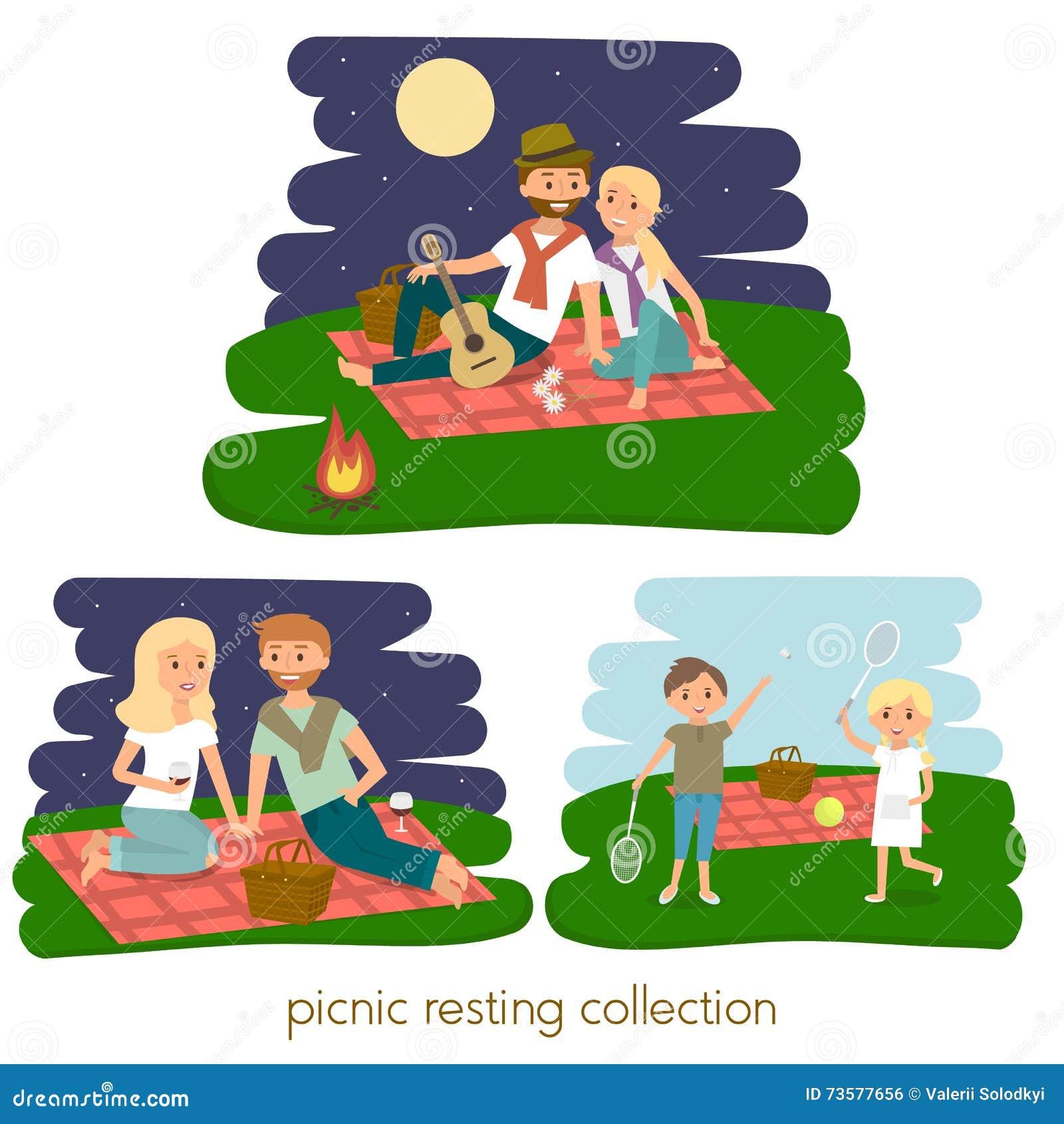 Σύνολο ευτυχούς στήριξης οικογενειακών πικ-νίκ νεολαίες ζευγών υπαίθρ&iot Πικ-νίκ θερινών οικογενειών επίσης corel σύρετε το διάν