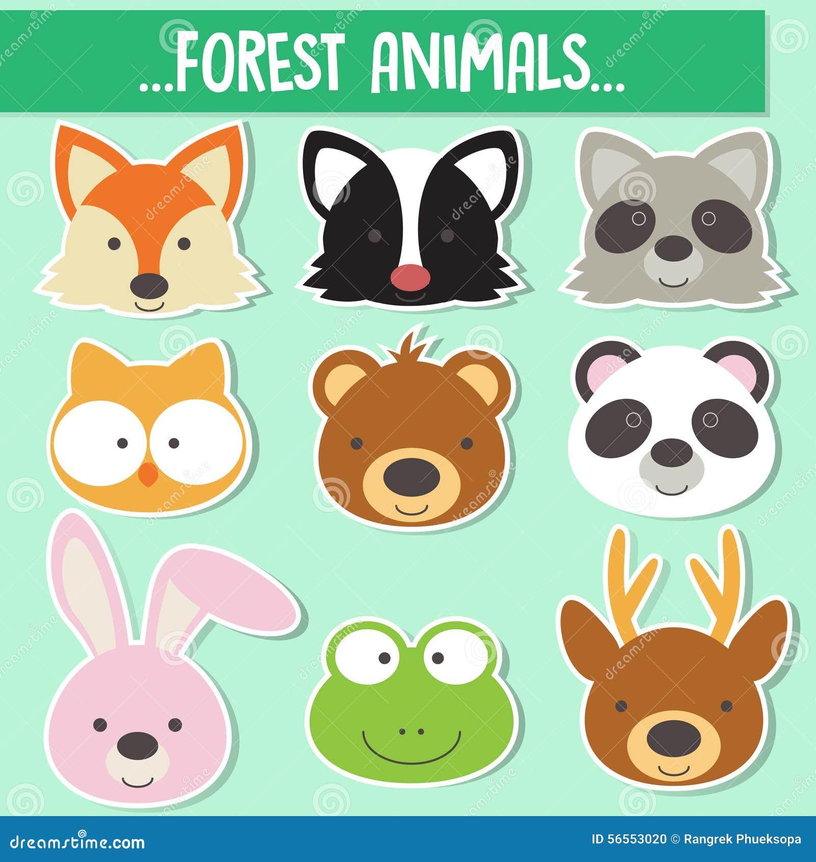 Download Σύνολο ζωικών προσώπων διανυσματική απεικόνιση. εικονογραφία από συλλογή - 56553020