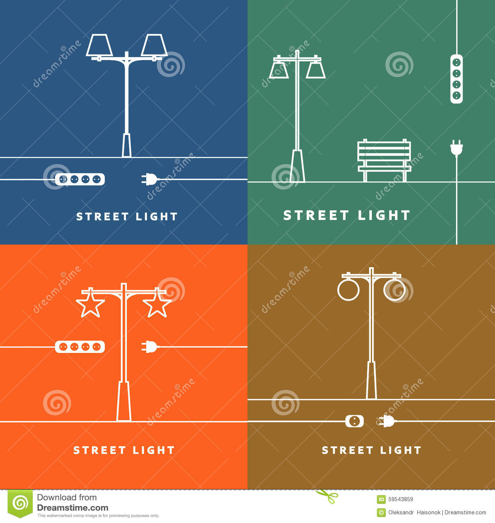 Σύνολο 4 διανυσματικοί φωτεινοί σηματοδότες και εικονίδιο υποδοχών