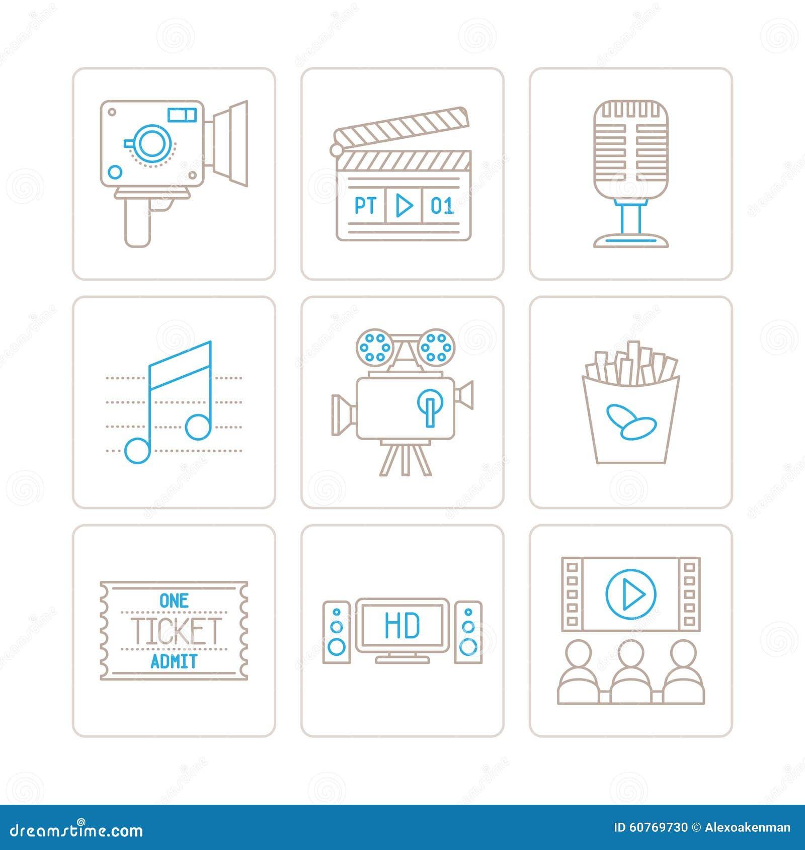 Σύνολο διανυσματικών εικονιδίων και εννοιών κινηματογράφων στο μονο λεπτό ύφος γραμμών
