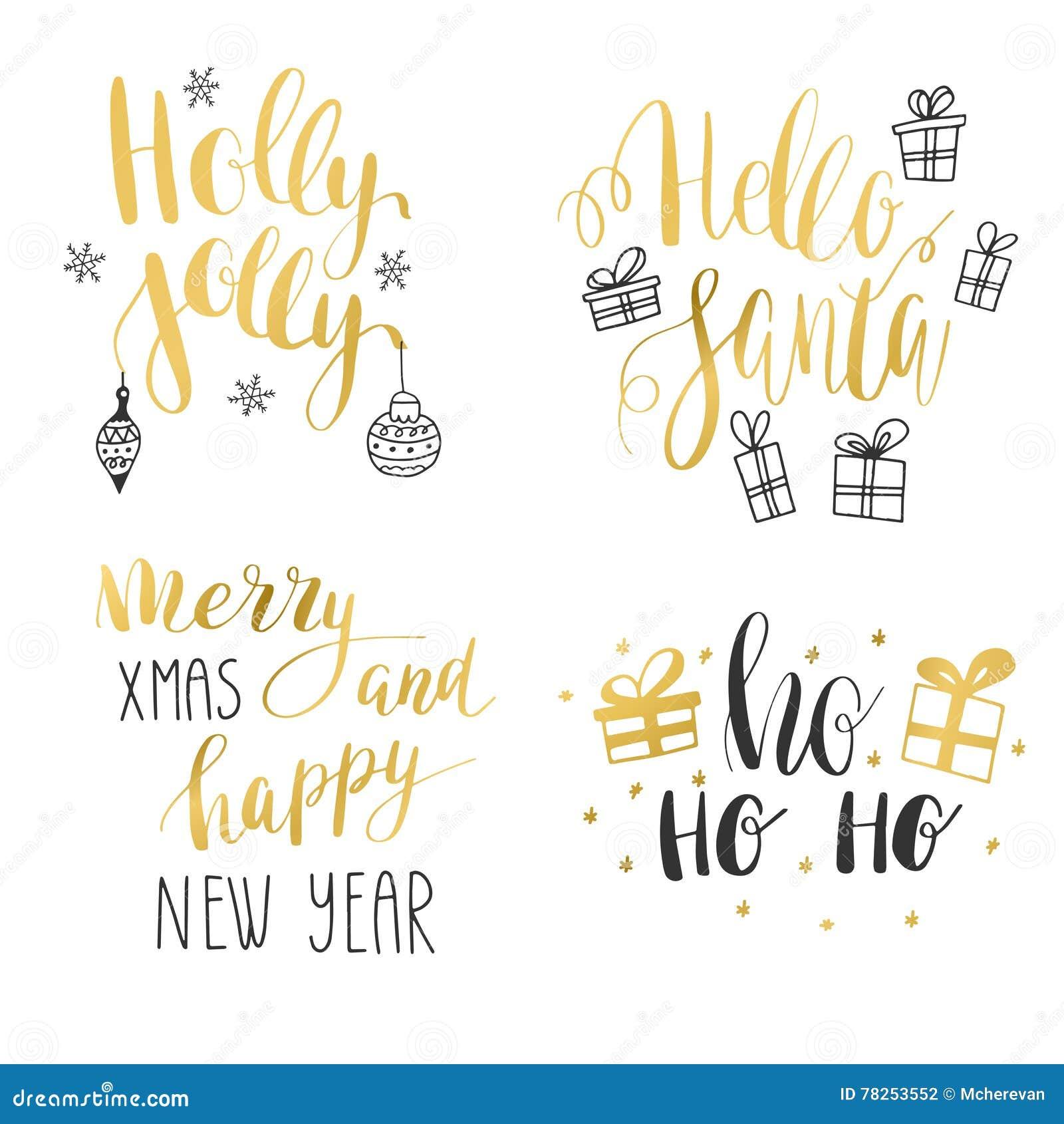 Σύνολο καλλιγραφικών αποσπασμάτων χειμερινών διακοπών χεριών Χρυσό και μαύρο κείμενο με τα διακοσμητικά στοιχεία