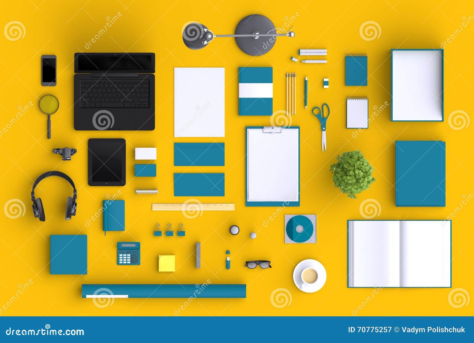 Σύνολο κενών αντικειμένων γραφείων ποικιλίας που οργανώνονται για την παρουσίαση επιχείρησης ή την ταυτότητα μαρκαρίσματος με τις