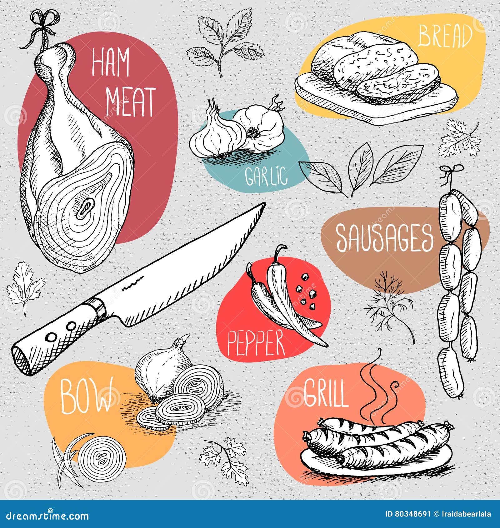 Σύνολο κιμωλίας που επισύρεται την προσοχή σε τρόφιμα πινάκων, καρυκεύματα
