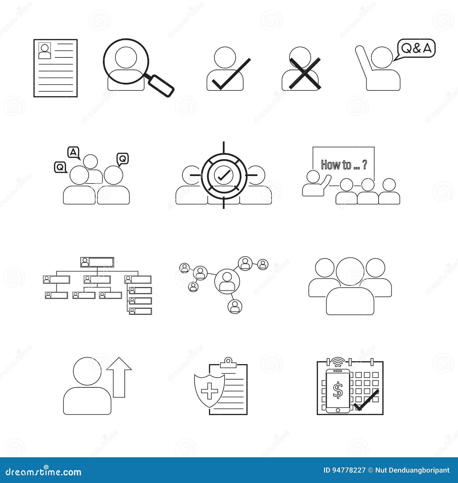 Σύνολο κτυπήματος Editable εικονιδίων γραμμών του ανθρώπινου δυναμικού