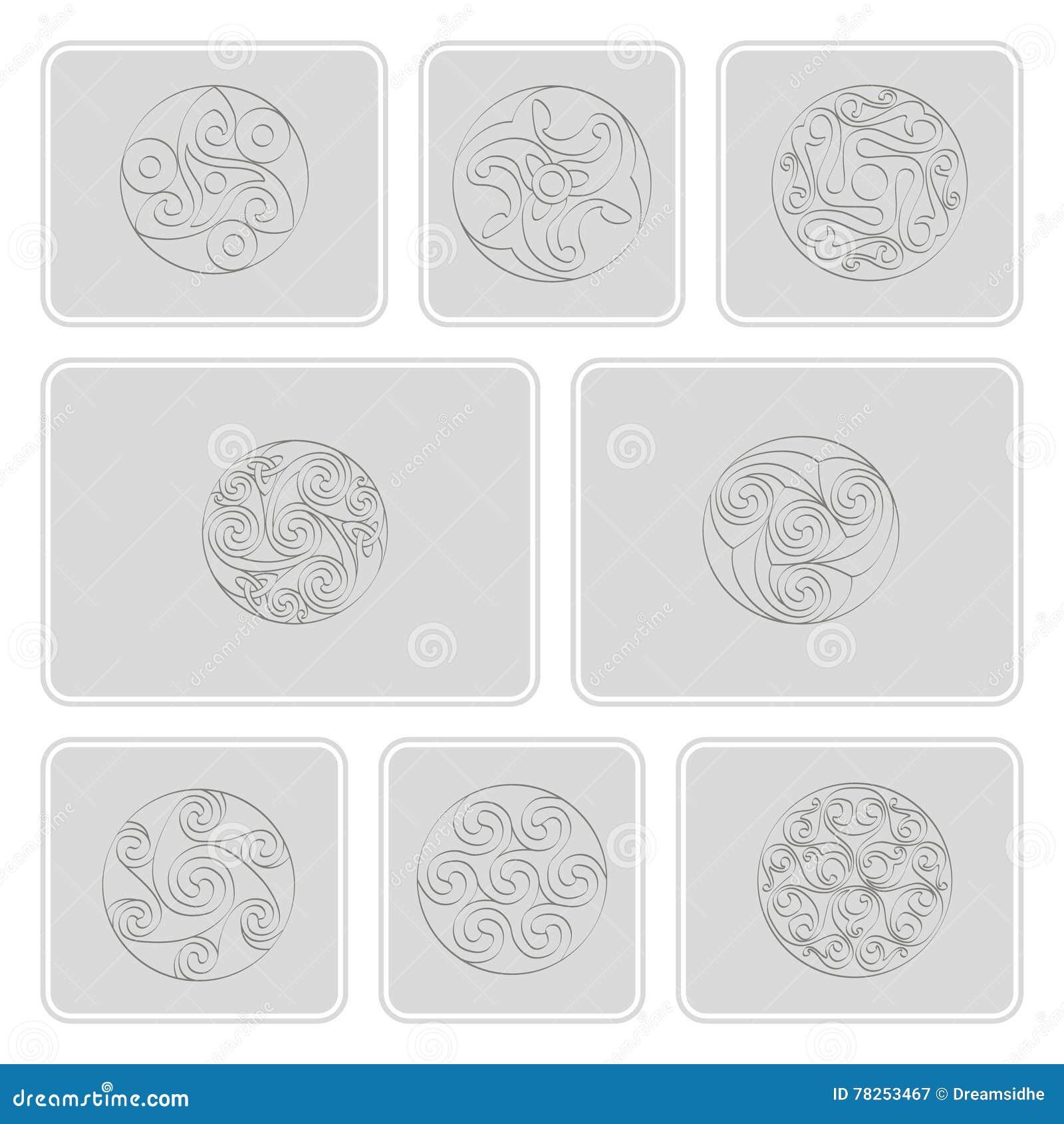 Σύνολο μονοχρωματικών εικονιδίων με την ιρλανδική γεωμετρική διακόσμηση