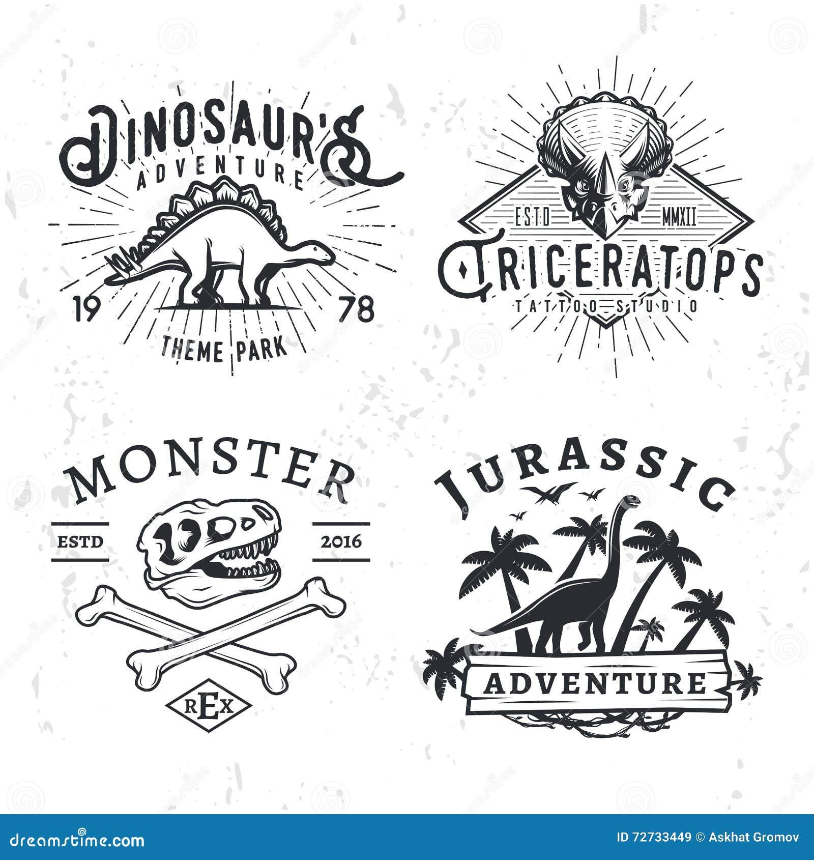Σύνολο λογότυπων της Dino Έννοια απεικόνισης μπλουζών κρανίων τ -τ-rex στο υπόβαθρο grunge διακριτικά πάρκων περιπέτειας stegosau