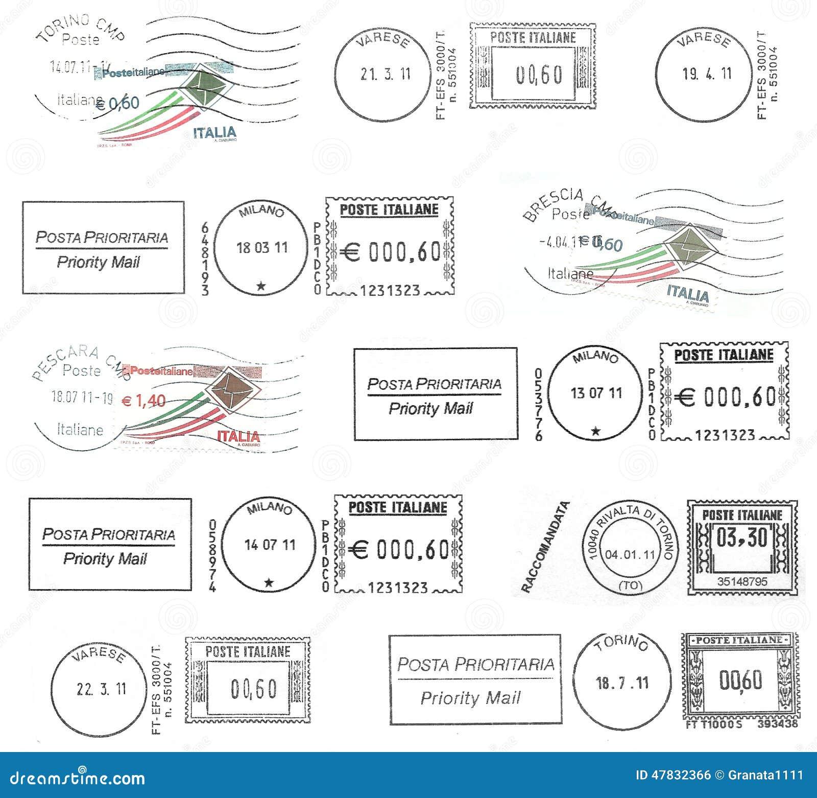 Σύνολο σκοτεινών ιταλικών ταχυδρομικών σφραγίδων