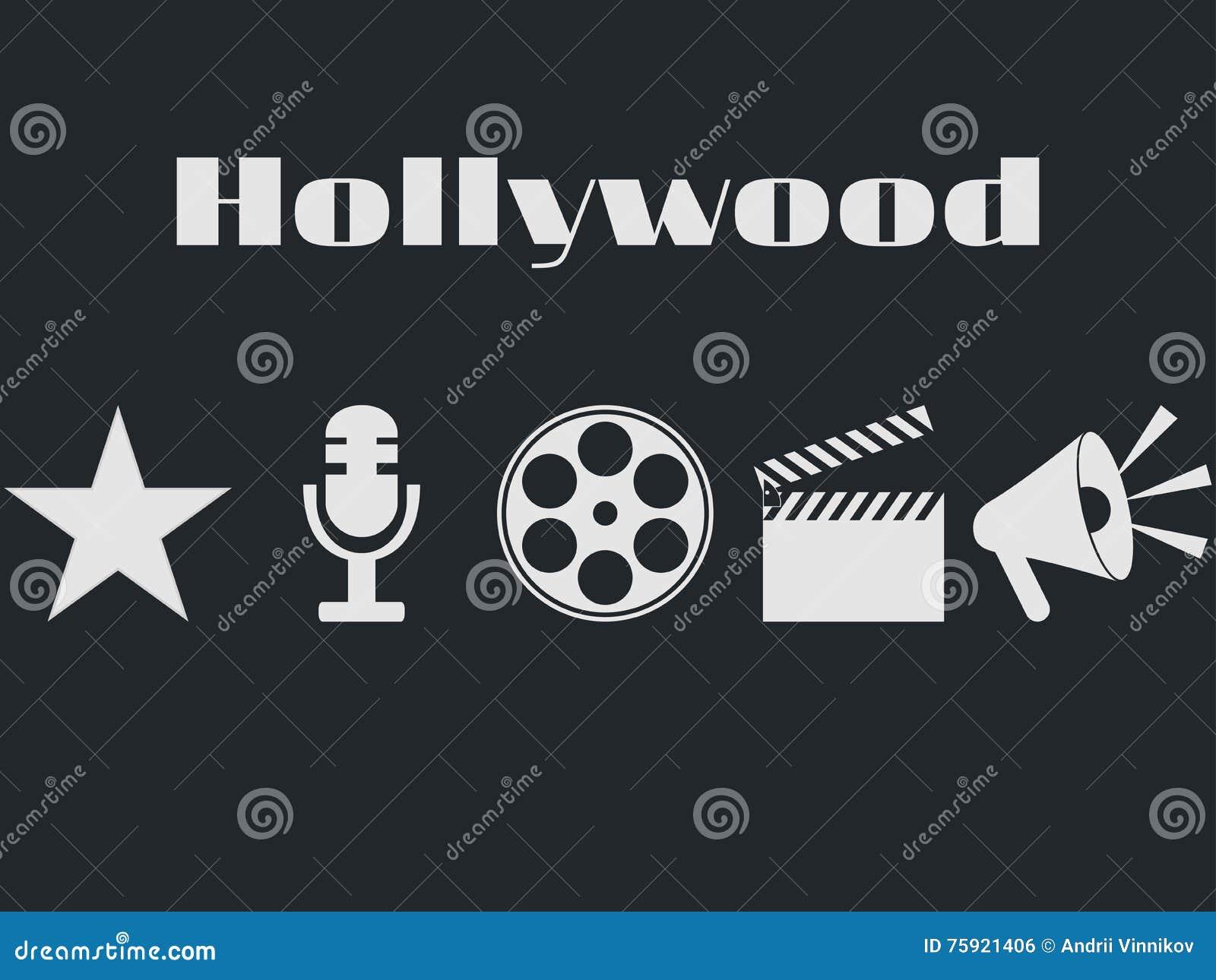 Σύνολο στοιχείων σχεδίου κινηματογράφων και εικονιδίων κινηματογράφων Εικονίδια Hollywood καθορισμένα