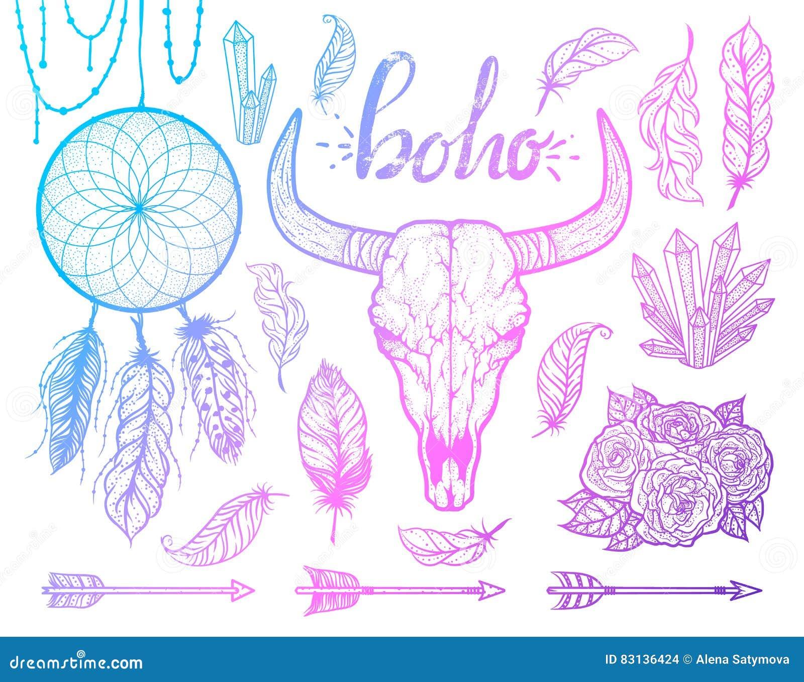 Σύνολο στοιχείων boho Φυλετικό ύφος αμερικανών ιθαγενών κρανίων του Bull Δερματοστιξία blackwork Διανυσματική συρμένη χέρι απεικό