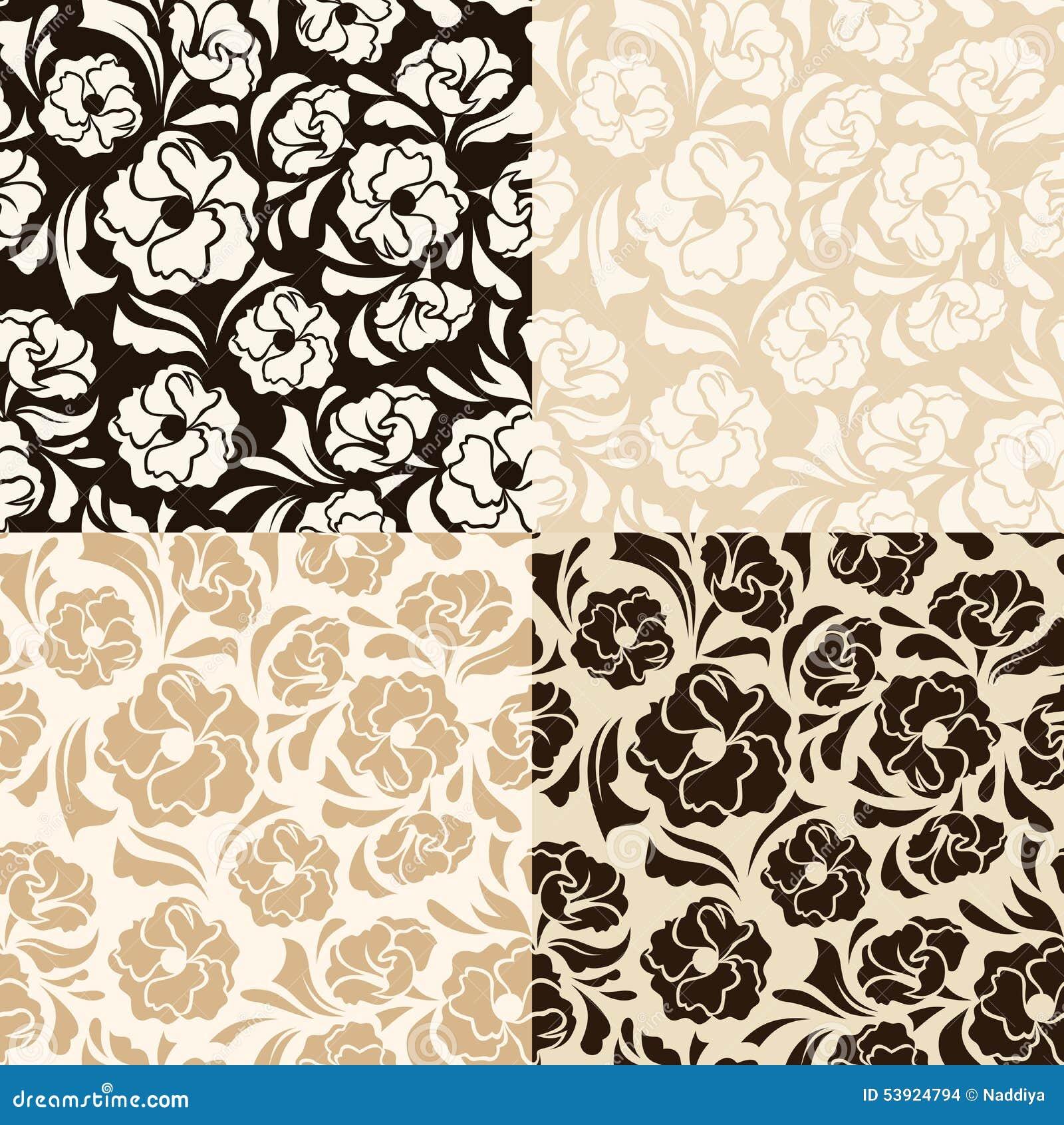 Σύνολο τεσσάρων άνευ ραφής μπεζ και καφετιών floral σχεδίων επίσης corel σύρετε το διάνυσμα απεικόνισης