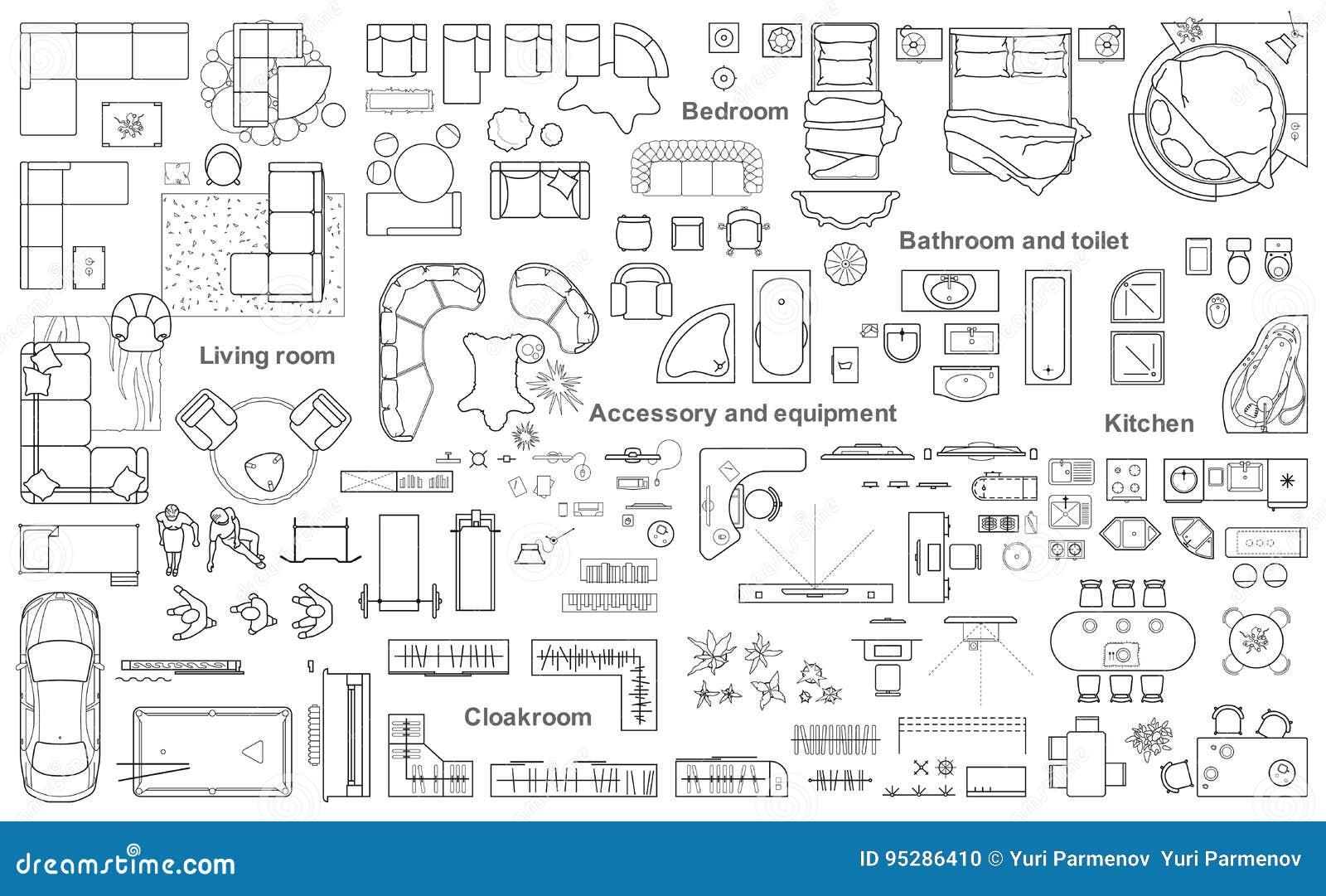 Σύνολο τοπ άποψης επίπλων για το σχέδιο διαμερισμάτων Το σχεδιάγραμμα του σχεδίου διαμερισμάτων, τεχνικό σχέδιο Εσωτερικό εικονίδ