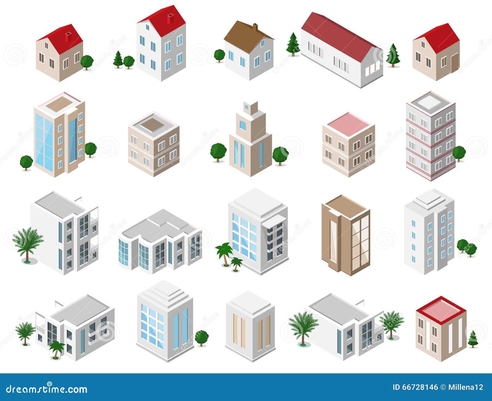 Σύνολο τρισδιάστατων λεπτομερών isometric κτηρίων πόλεων: ιδιωτικά σπίτια, ουρανοξύστες, ακίνητη περιουσία, δημόσια κτίρια, ξενοδ