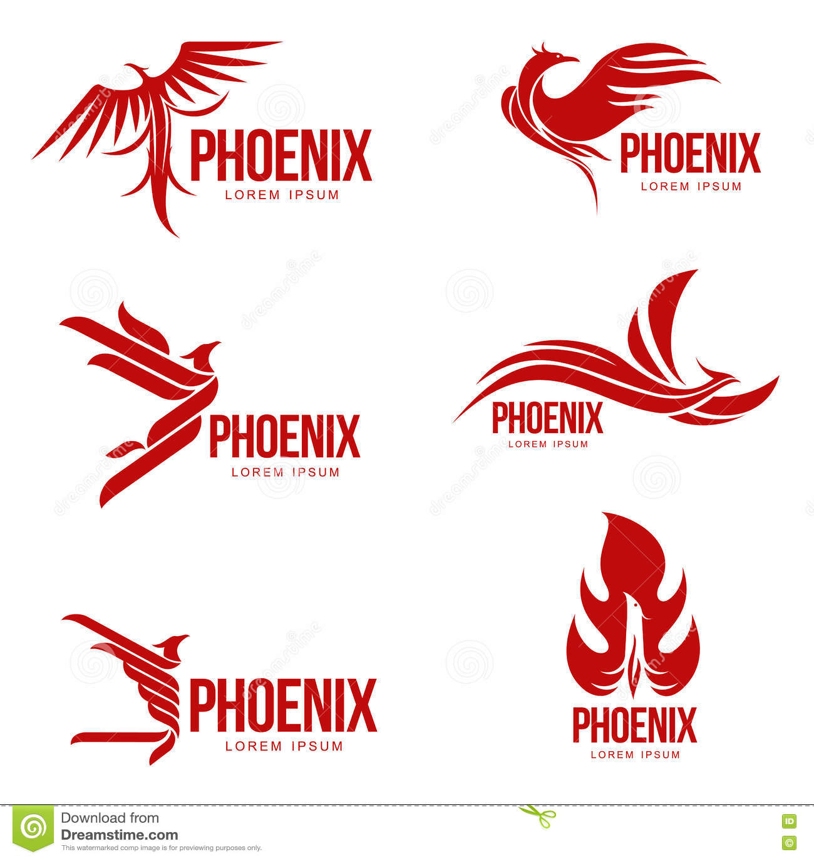 Σύνολο τυποποιημένων γραφικών προτύπων λογότυπων πουλιών του Φοίνικας, διανυσματική απεικόνιση