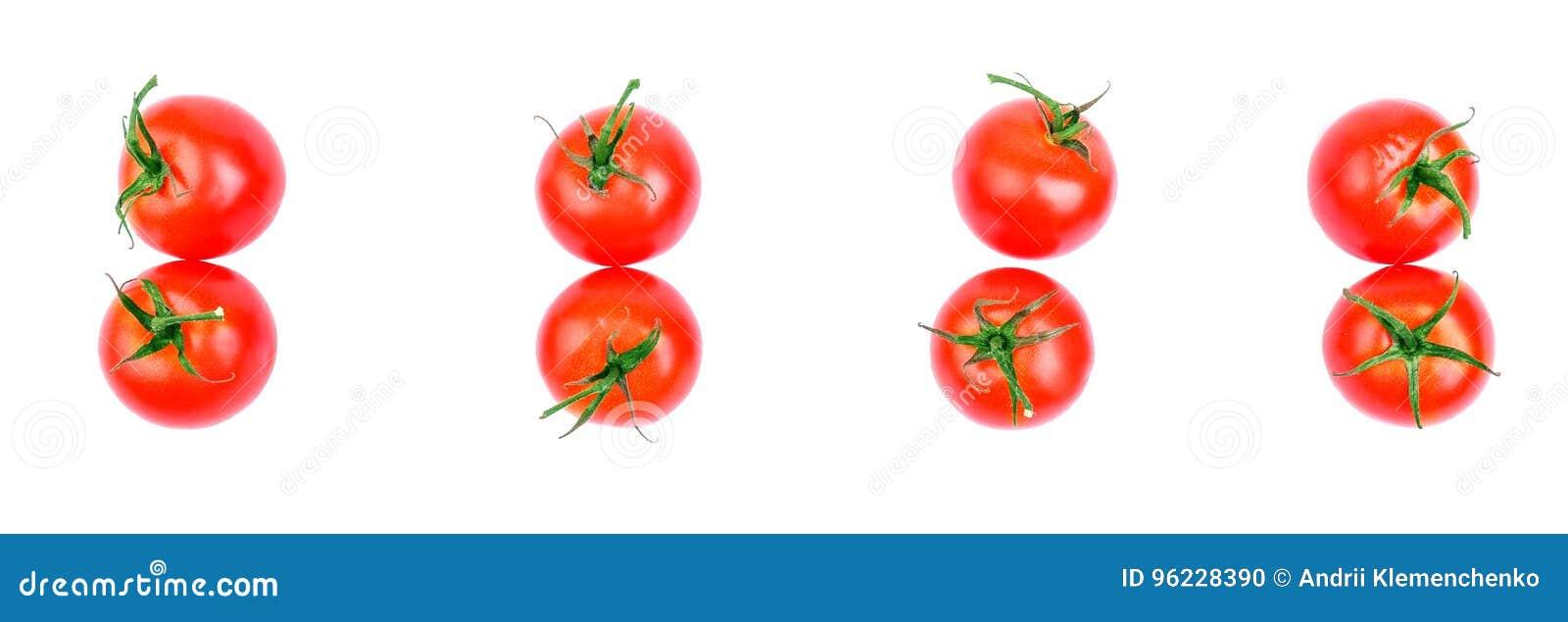 Σύνολο φρέσκων ντοματών, που απομονώνεται στο άσπρο υπόβαθρο, τοπ άποψης Μια ομάδα ντοματών με τα φύλλα για τη σαλάτα ντομάτες κή
