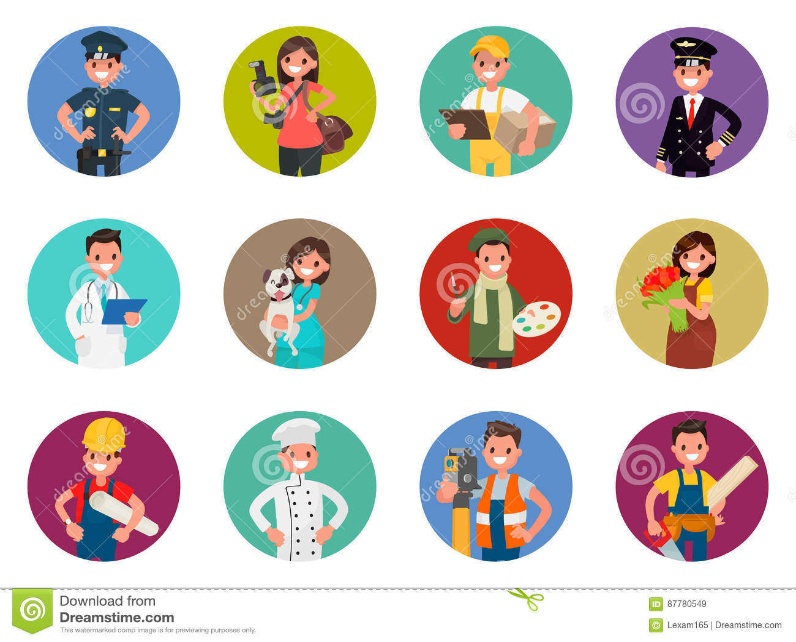 Σύνολο χαρακτήρων ειδώλων των διαφορετικών επαγγελμάτων: αστυνομικός, φωτογράφος, αγγελιαφόρος, πειραματικός, γιατρός και άλλοι Δ