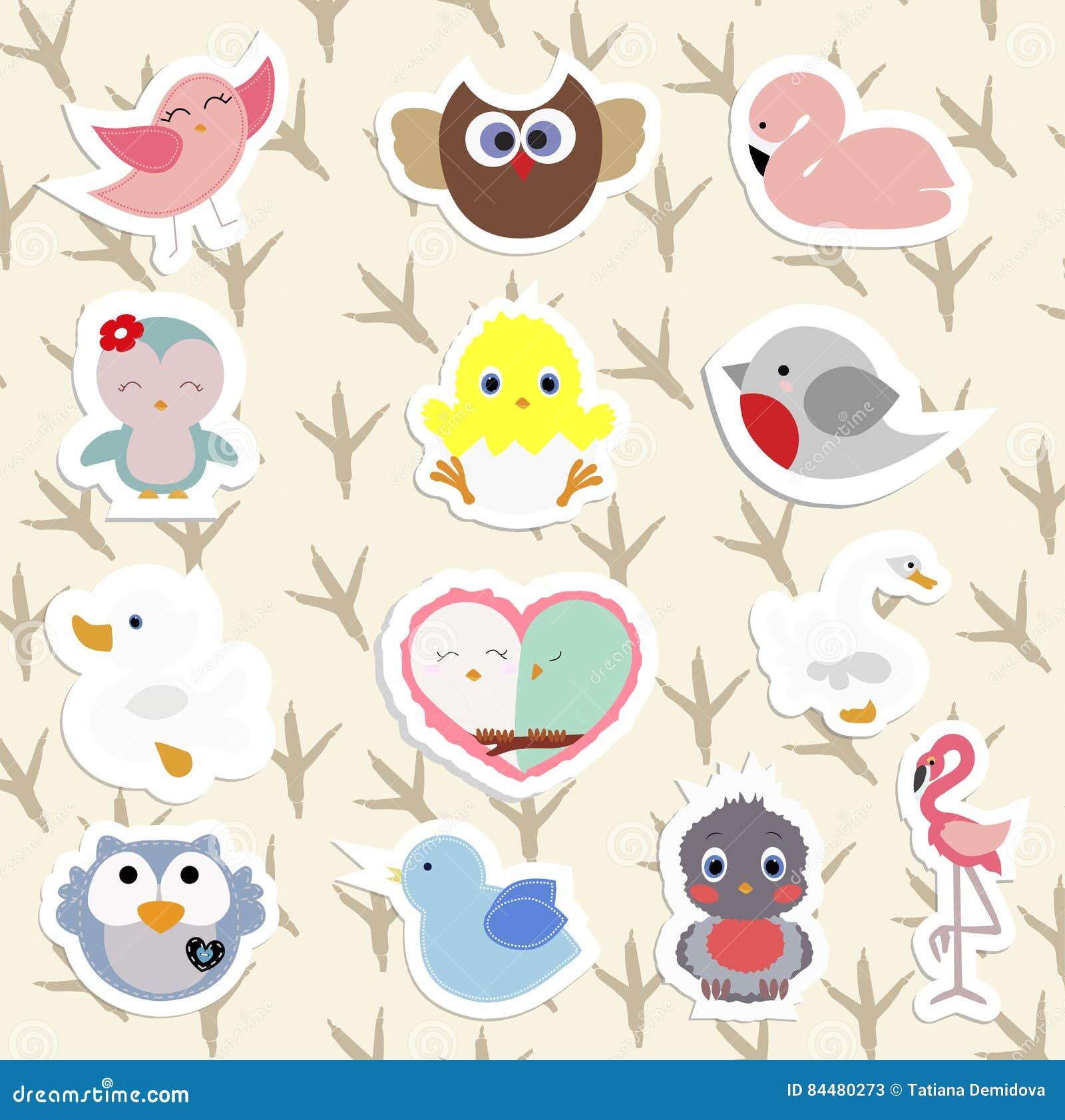 Σύνολο χαριτωμένων πουλιών αυτοκόλλητων ετικεττών παιδιών ` s στο ύφος κινούμενων σχεδίων