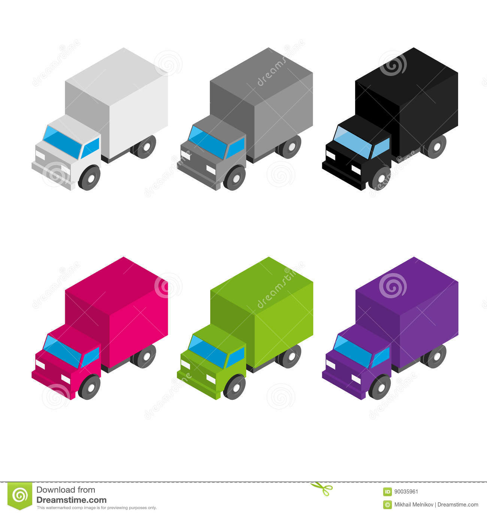 Σύνολο χρωματισμένων και γκρίζων isometric τρισδιάστατων φορτηγών φορτίου
