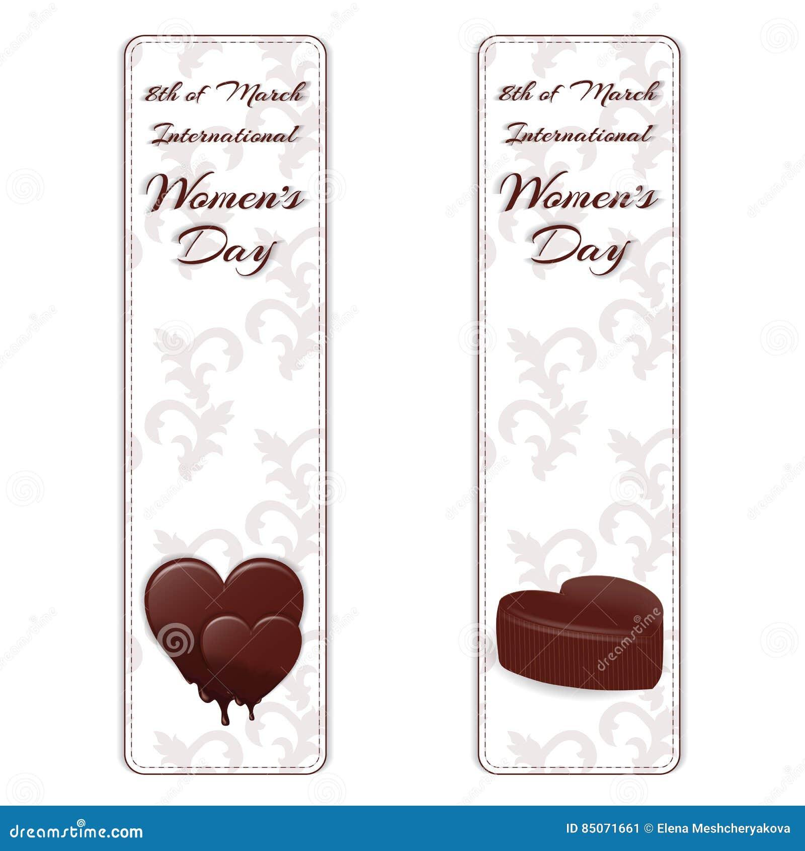 Σύνολο δύο κάθετων εμβλημάτων με την άσπρη διακόσμηση, καρδιές σοκολάτας και χαρακτηρισμένος η διεθνής ημέρα γυναικών ` s στις 8