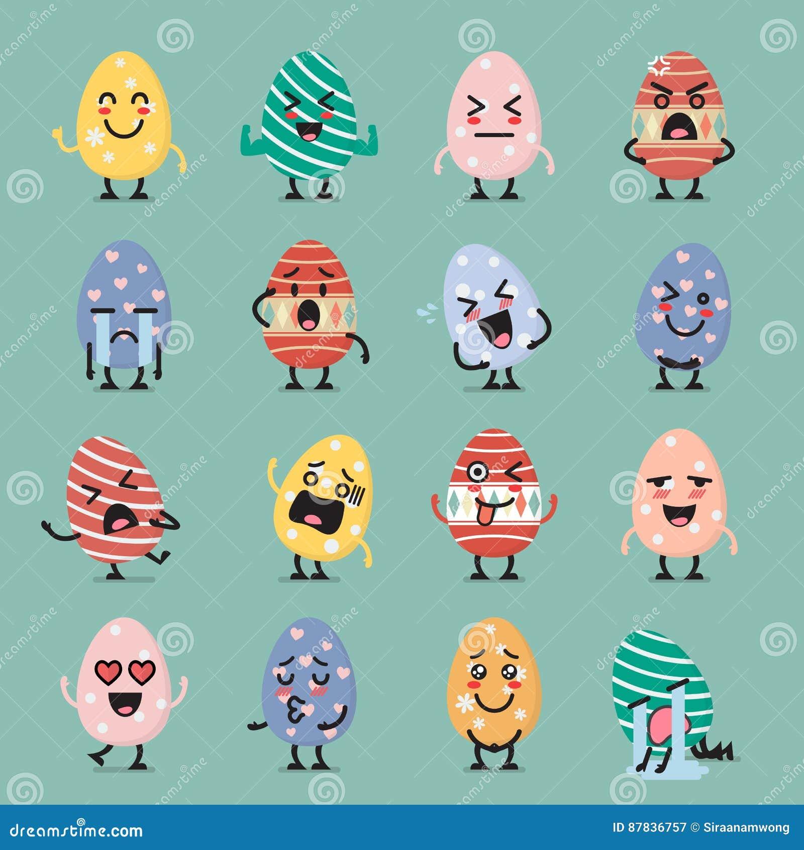 Σύνολο emoji χαρακτήρα αυγών Πάσχας
