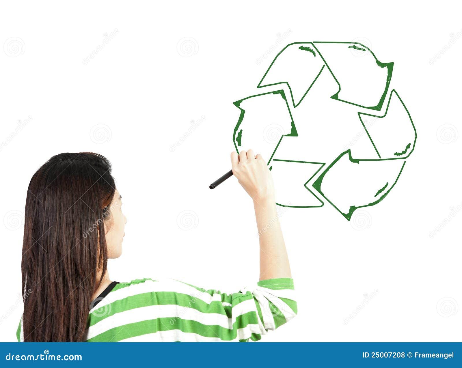 σύρετε την ανακύκλωσης ανακυκλώνοντας γυναίκα σημαδιών