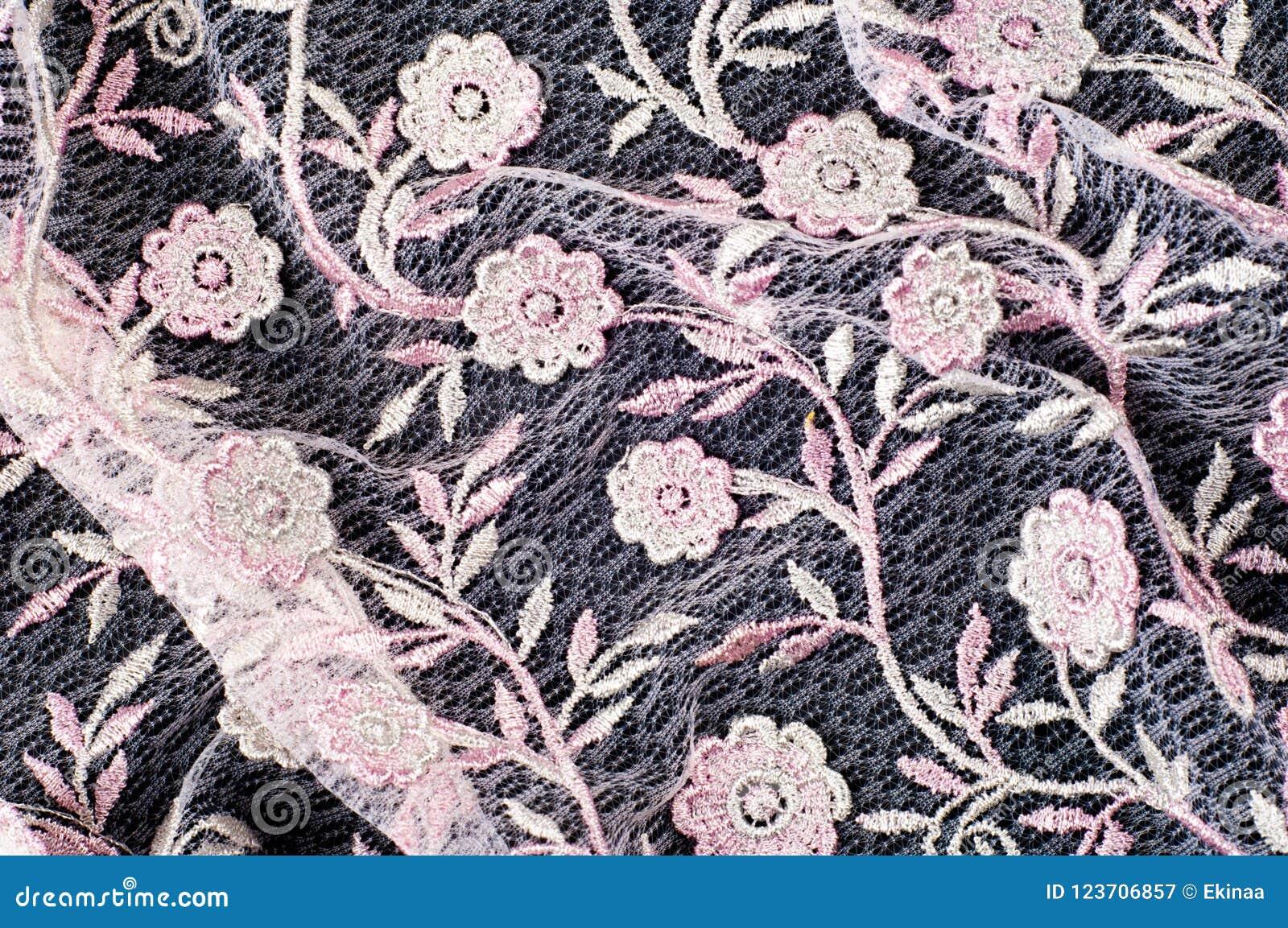 Σύσταση, υπόβαθρο, σχέδιο Δαντέλλα που διακοσμείται ρόδινη με τα λουλούδια ο