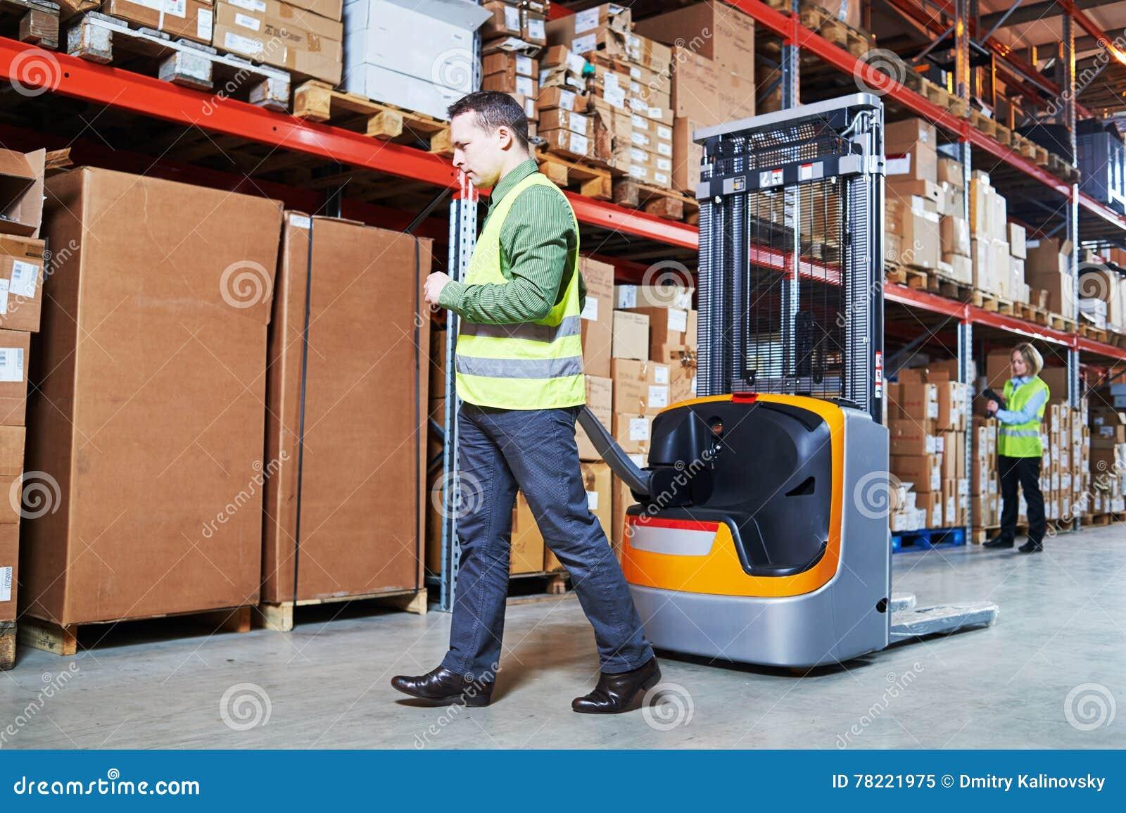 Σύστημα διαχείρισης αποθηκών εμπορευμάτων Εργαζόμενοι με τον ανιχνευτή και το στοιβαχτή γραμμωτών κωδίκων