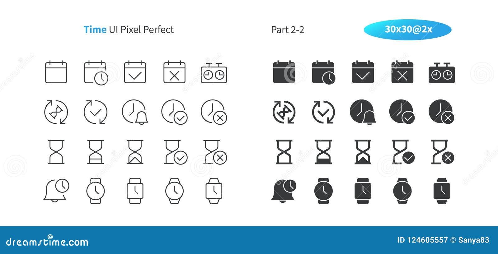 Τέλεια καλά-επεξεργασμένη διανυσματική λεπτή γραμμή και στερεά εικονίδια 30 χρονικού UI εικονοκυττάρου 2x πλέγμα για τη γραφική π