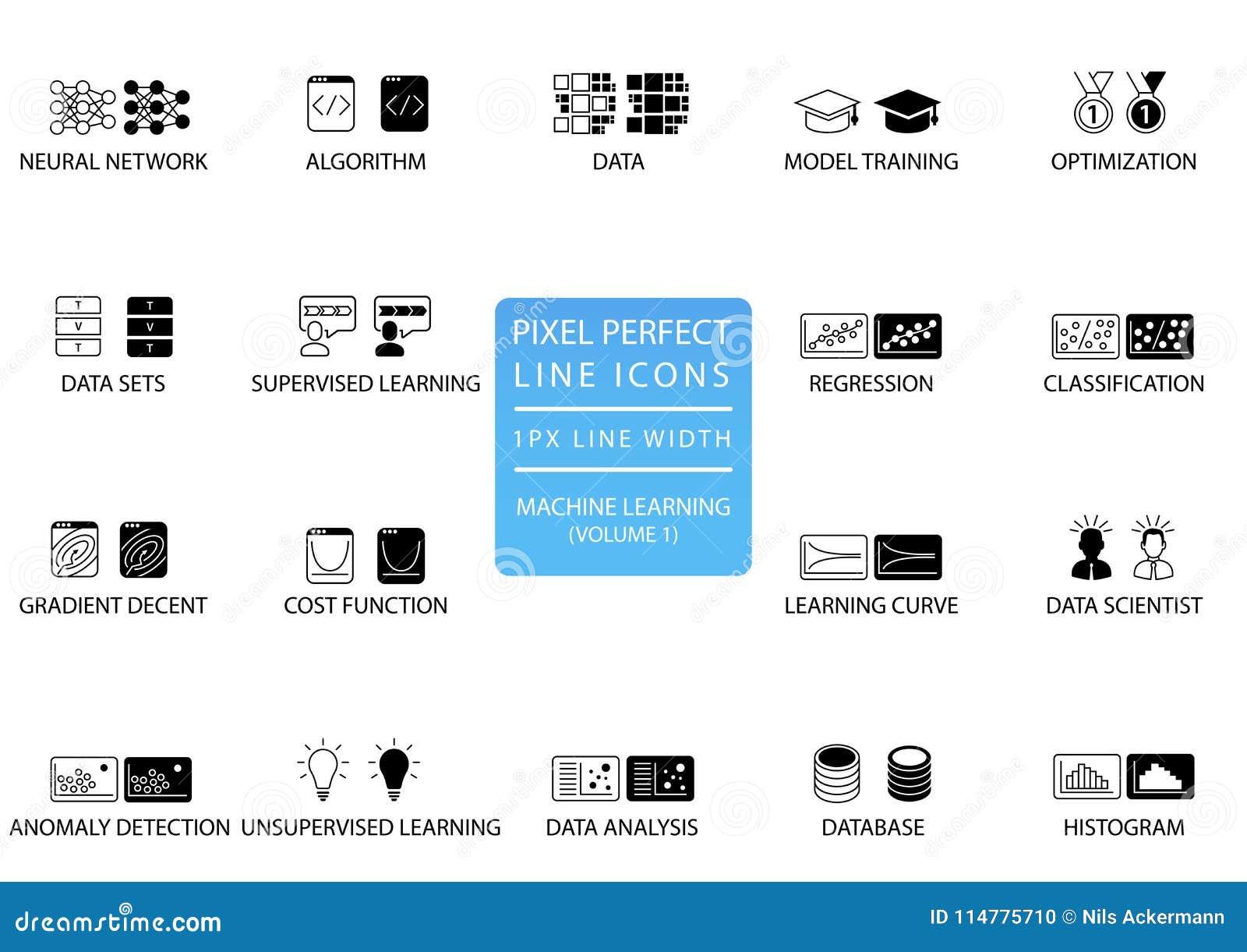 Τέλεια λεπτά εικονίδια και σύμβολα γραμμών εικονοκυττάρου για τη μηχανή που μαθαίνει/βαθιά που μαθαίνει/τεχνητός νοημοσύνη