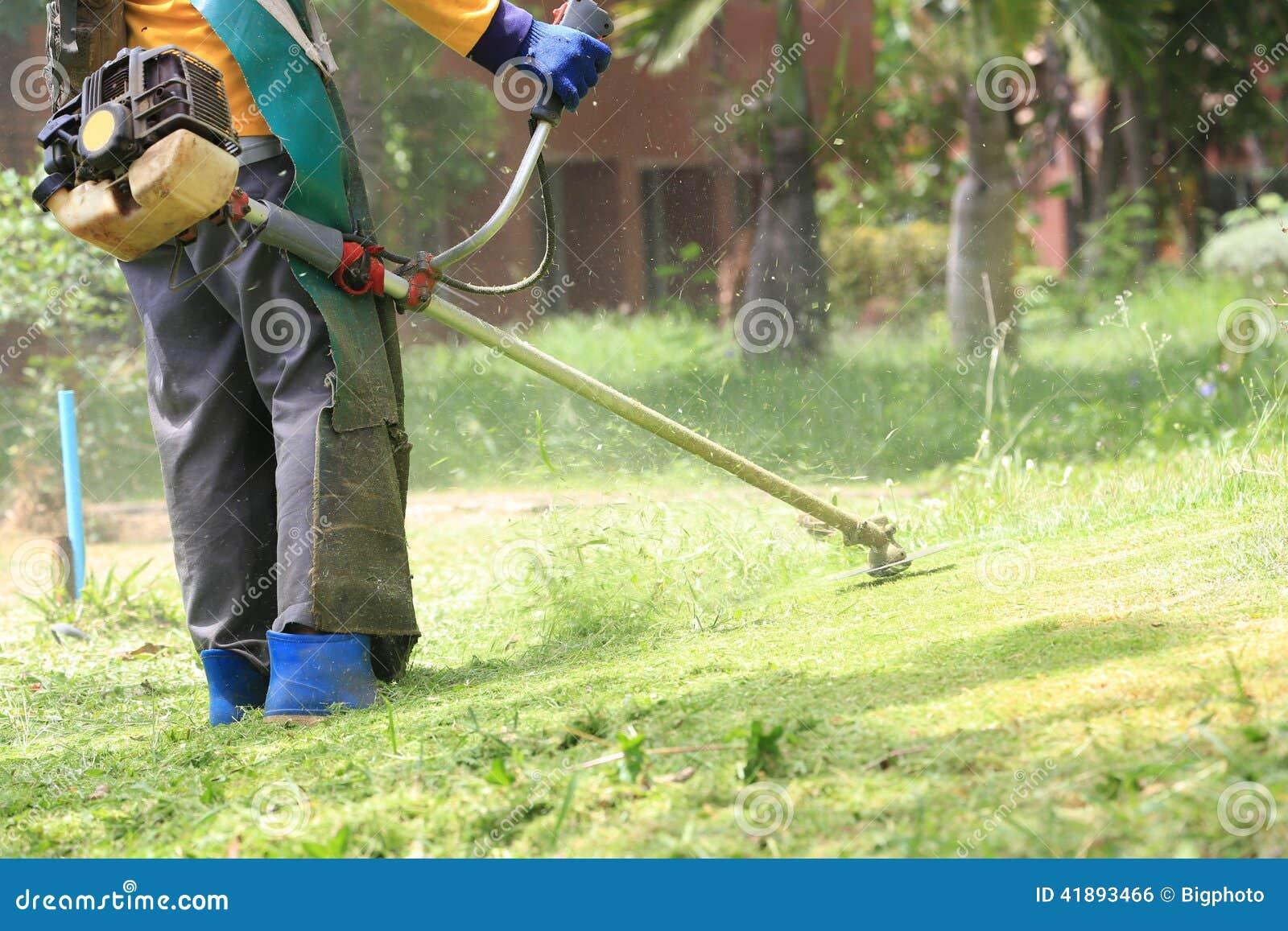Τέμνουσα χλόη εργαζομένων θεριστών χορτοταπήτων στον πράσινο τομέα