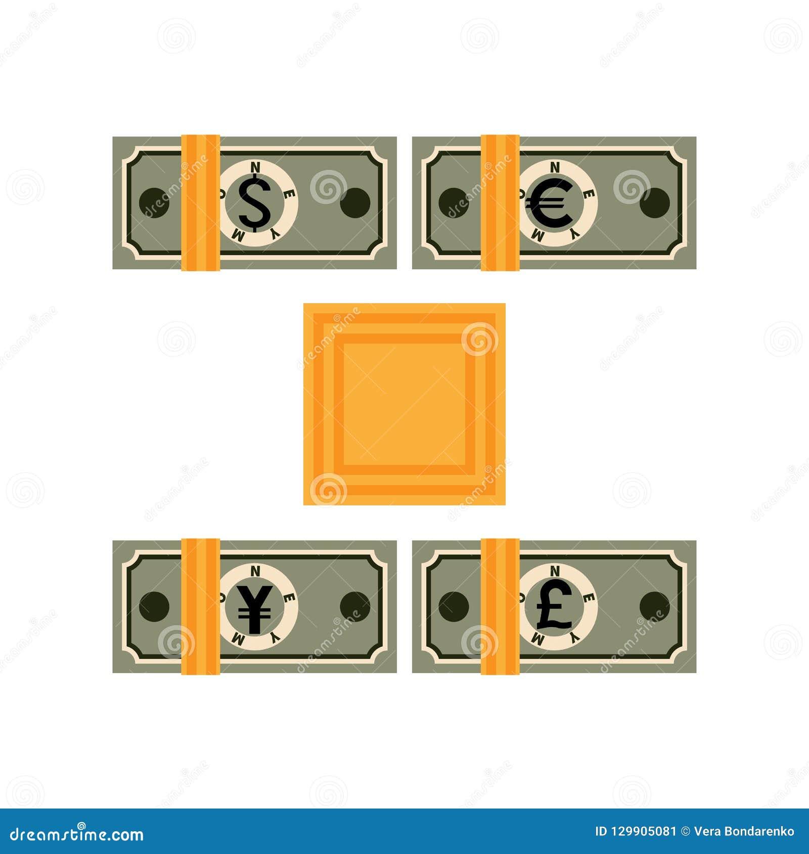 Τέσσερα δεμένα πακέτα των διαφορετικών τραπεζογραμματίων χωρών