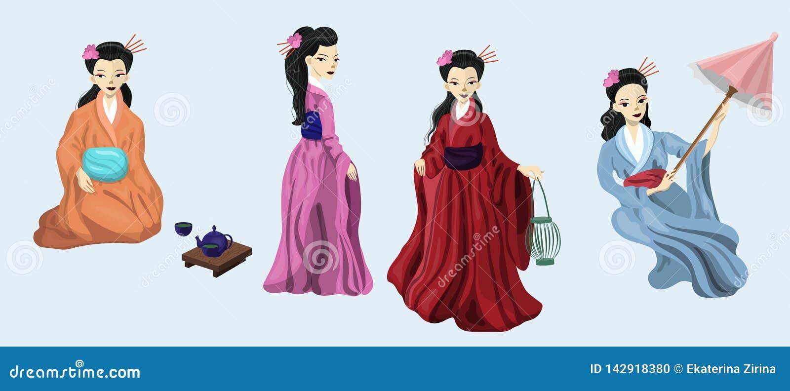 Τέσσερα ιαπωνικά κορίτσια στην εθνική διανυσματική εικόνα κοστουμιών