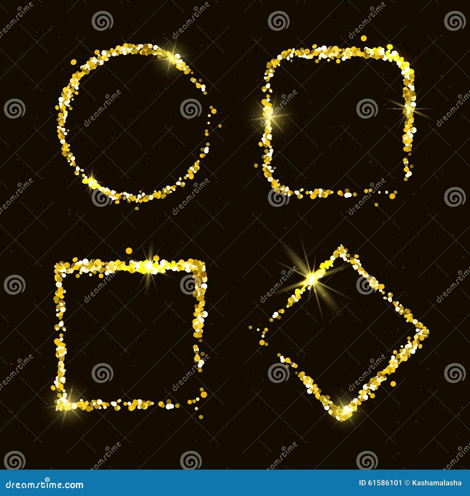 Τέσσερις λαμπρός χρυσός ακτινοβολεί πλαίσια